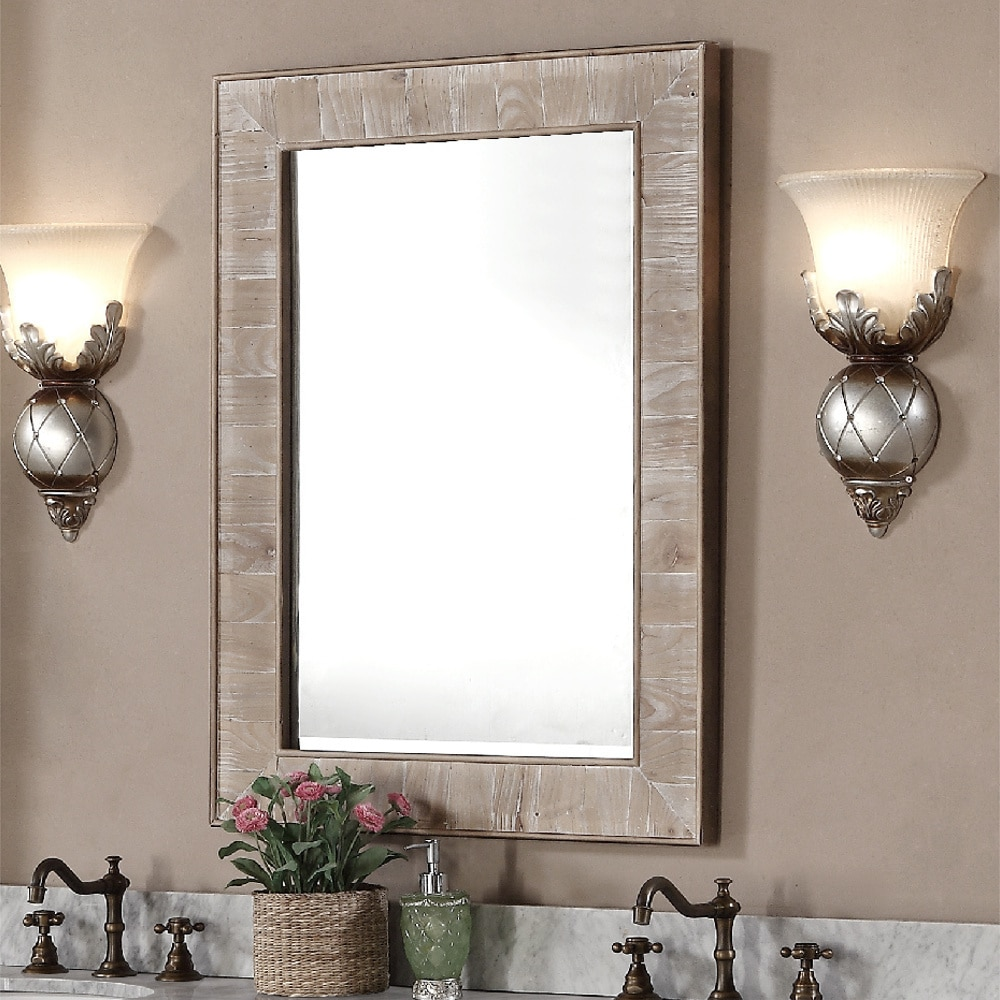 Rustic Style 60-inch Double Sink Bathroom Vanity and Matching Wall ...