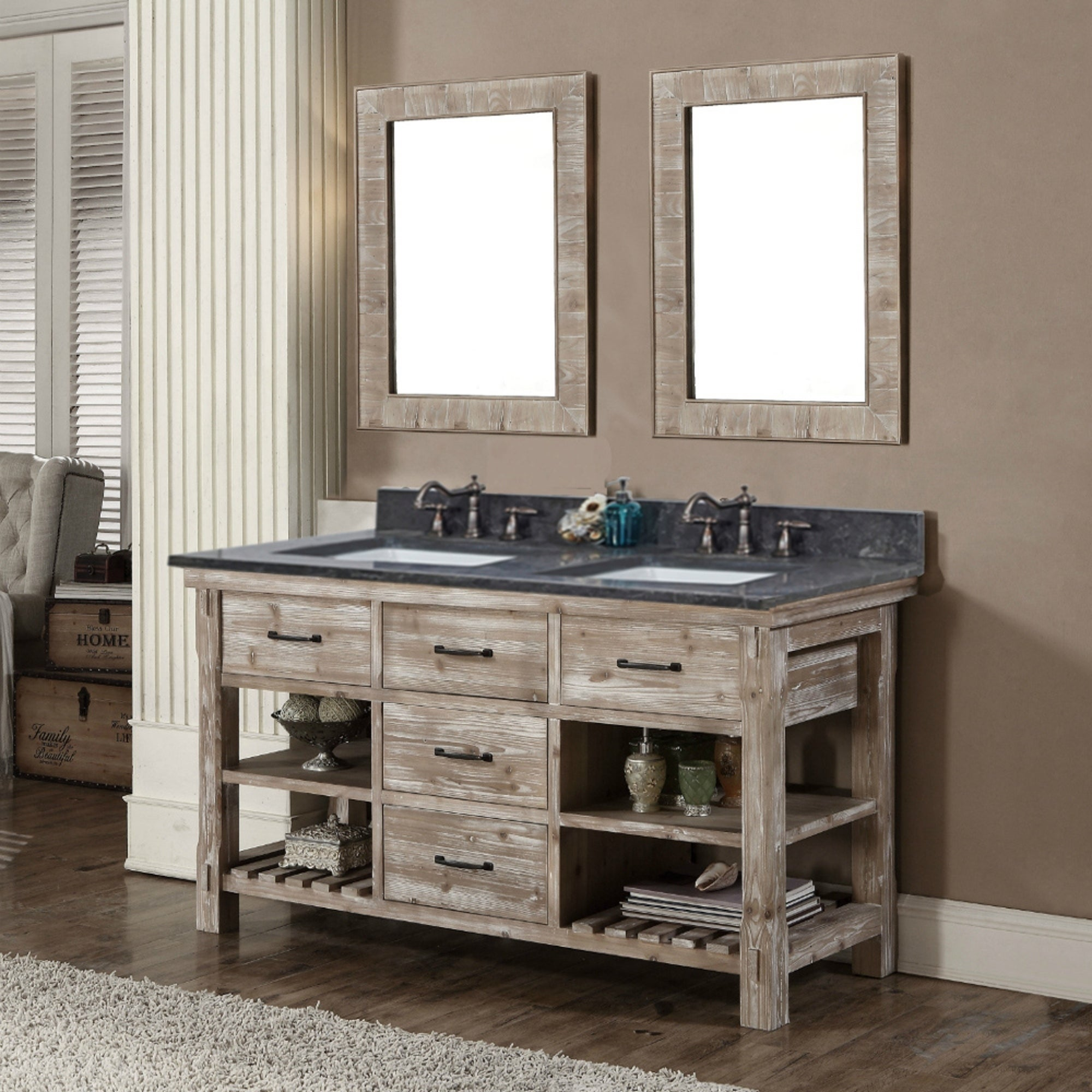 Double Bathroom Vanity | Shop Rustic Style 60 Inch Double Sink Bathroom Vanity With Dark