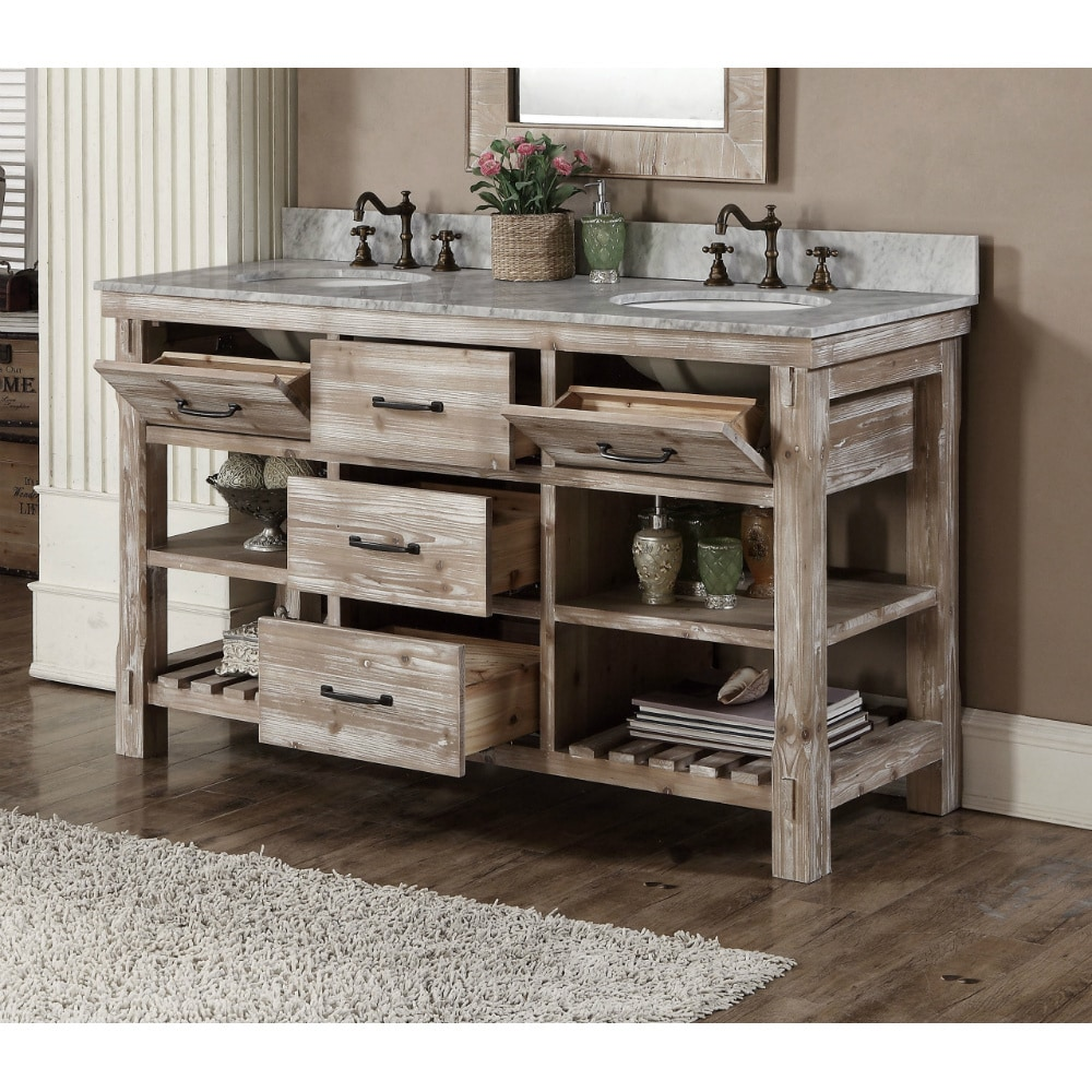 Rustic Style 60 Inch Double Sink Bathroom Vanity Free Shipping Today 10992389