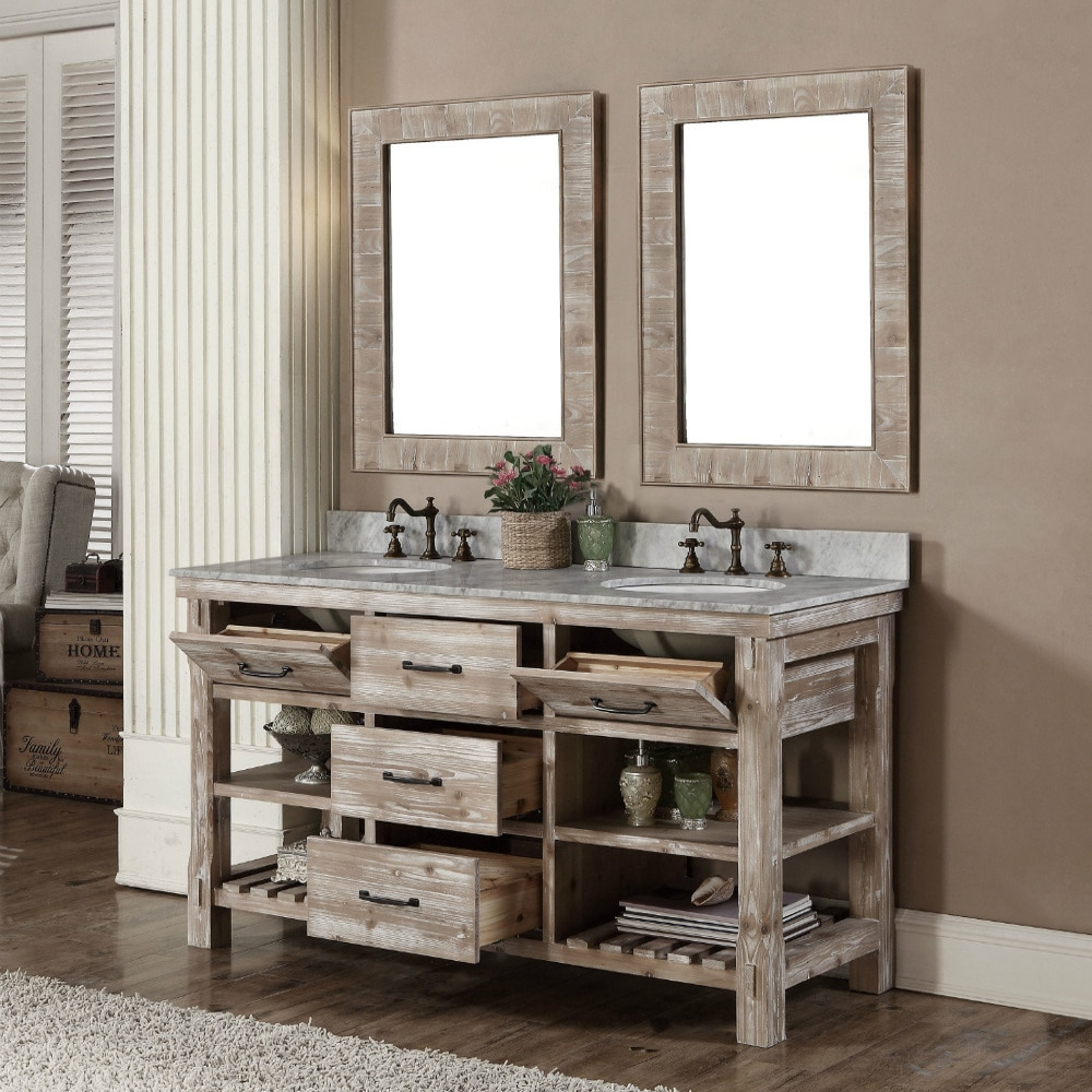 Rustic Style 60 Inch Double Sink Bathroom Vanity And Matching Wall Mirrors Free Shipping Today 10992391