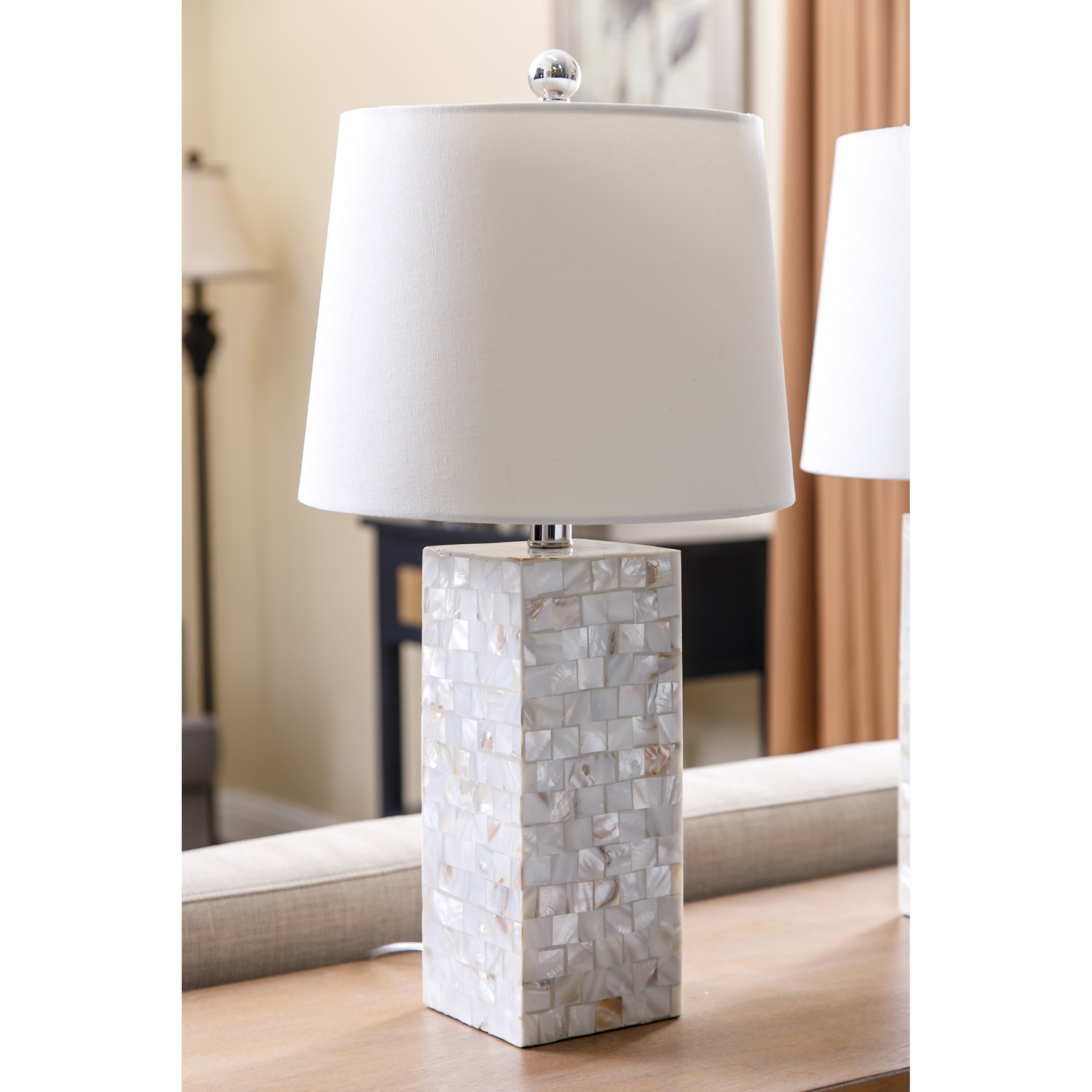Abbyson Mother Of Pearl Square Table Lamp (Set Of 2)   Free Shipping Today    Overstock.com   18013038