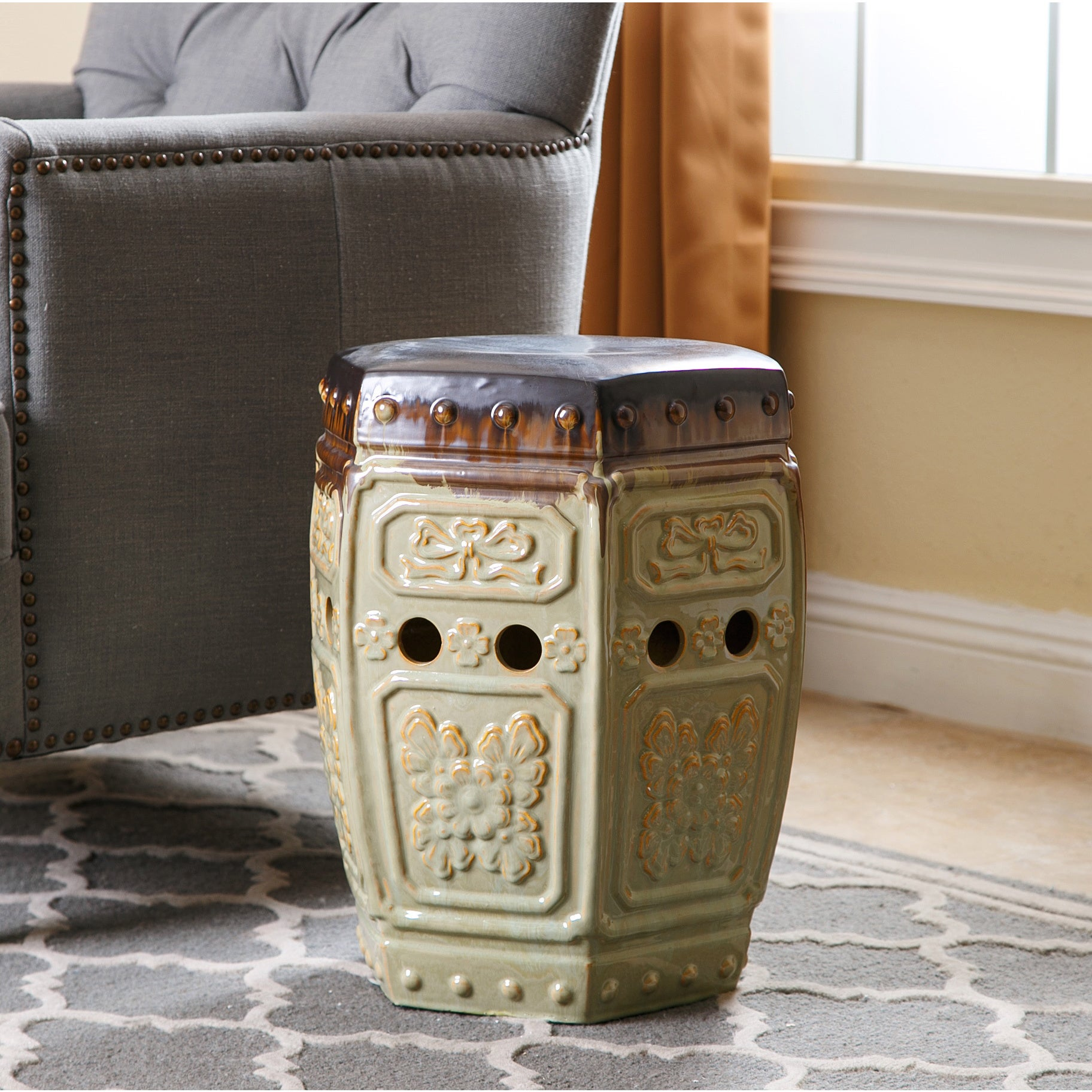 Shop Abbyson Milana Antique Embossed Ceramic Garden Stool - On Sale ...
