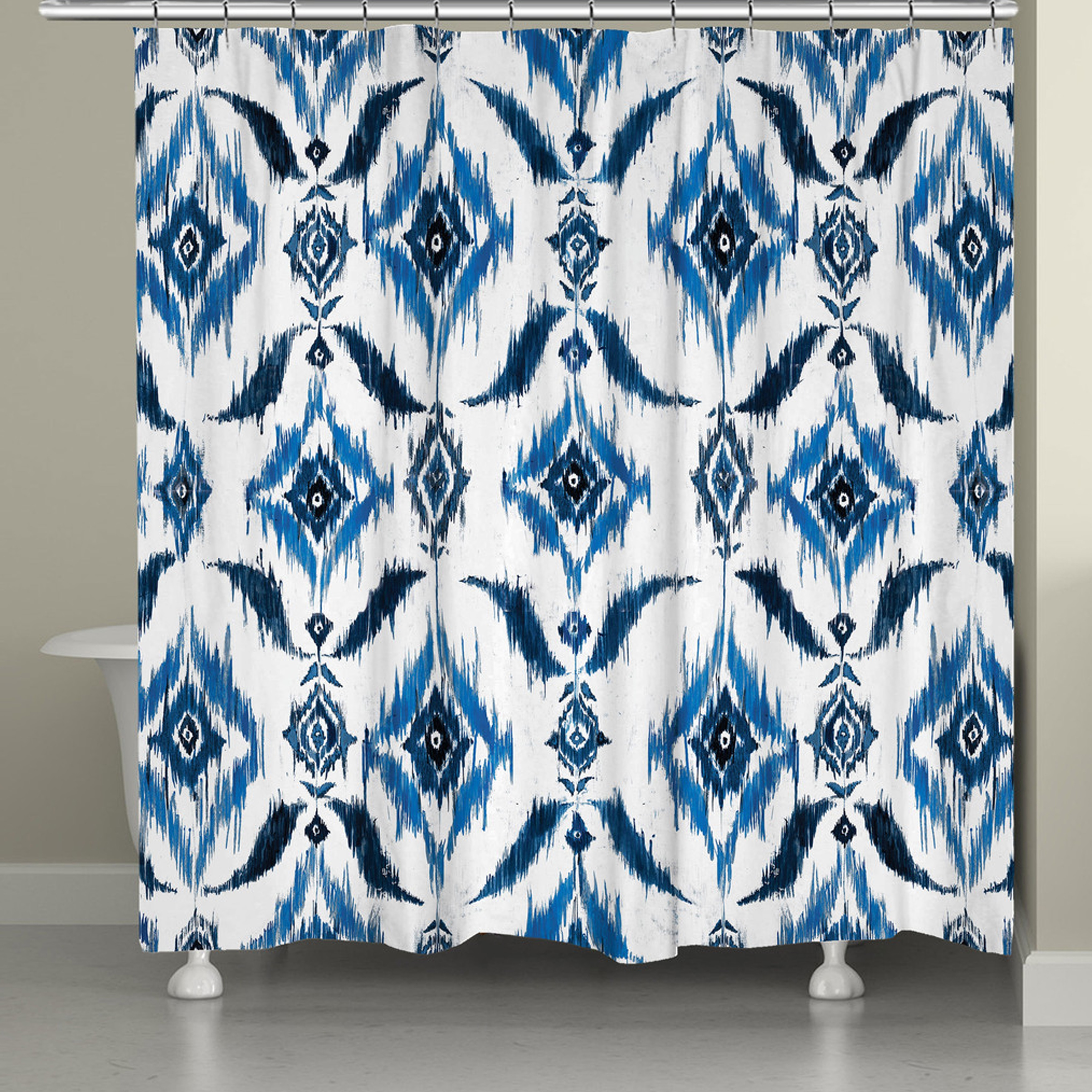 Shop Laural Home Abstract Indigo Shower Curtain