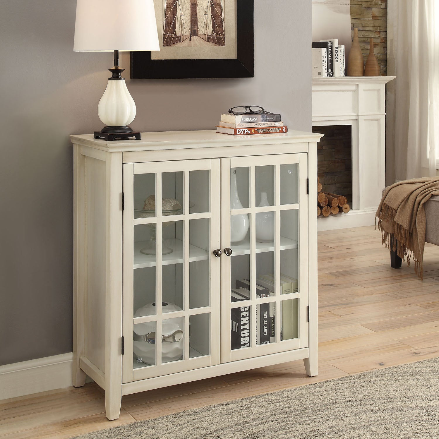 Linon Galway Cabinet White Free Shipping Today Overstock