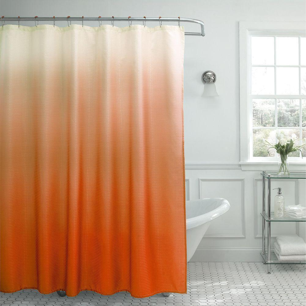 Modern Ombre Waffle Weave Shower Curtain with Matching Metal ...