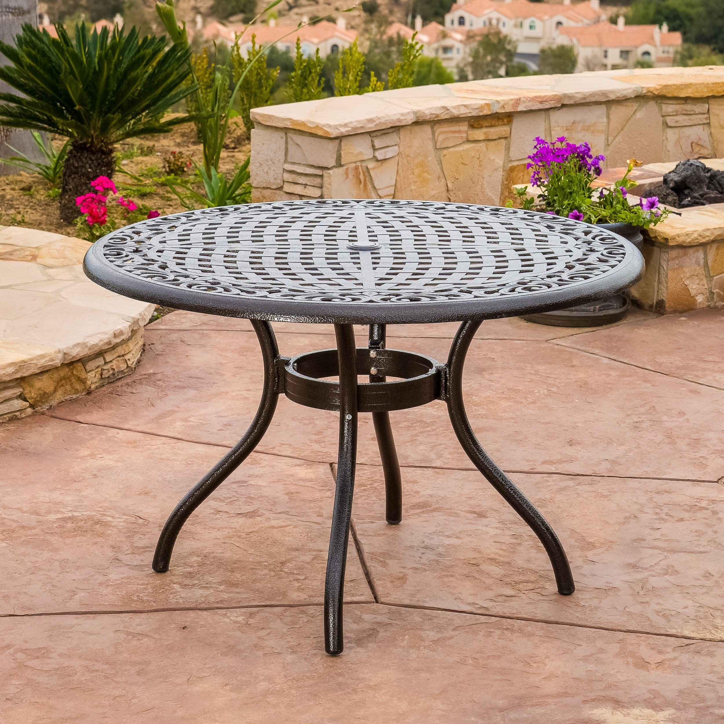 Outdoor Hallandale Round Cast Aluminum Bronze Dining Table Only By Christopher Knight Home