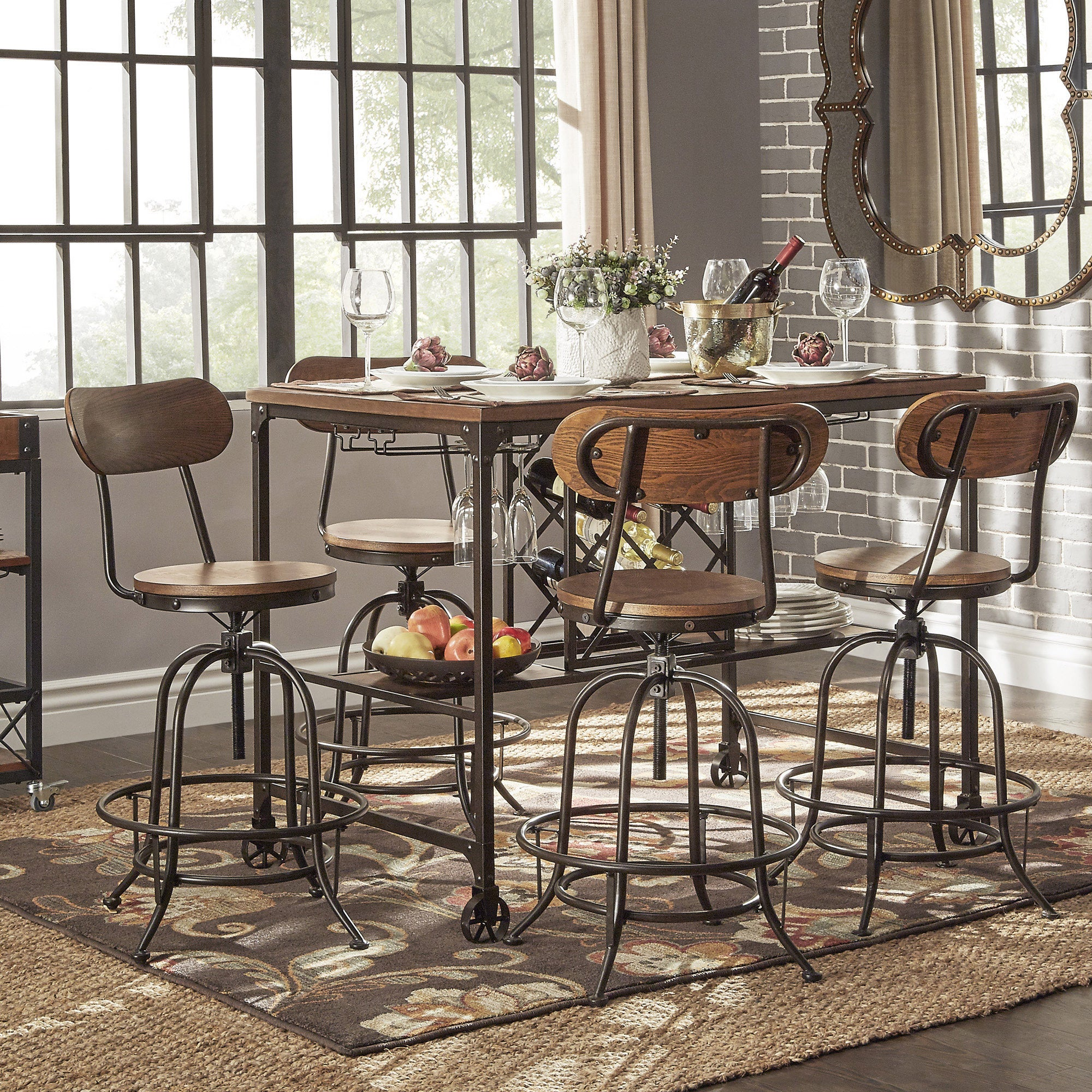 Berwick Industrial Style Counter Height Pub Dining Set With Wine Rack By  INSPIRE Q Classic   Free Shipping Today   Overstock   18016298