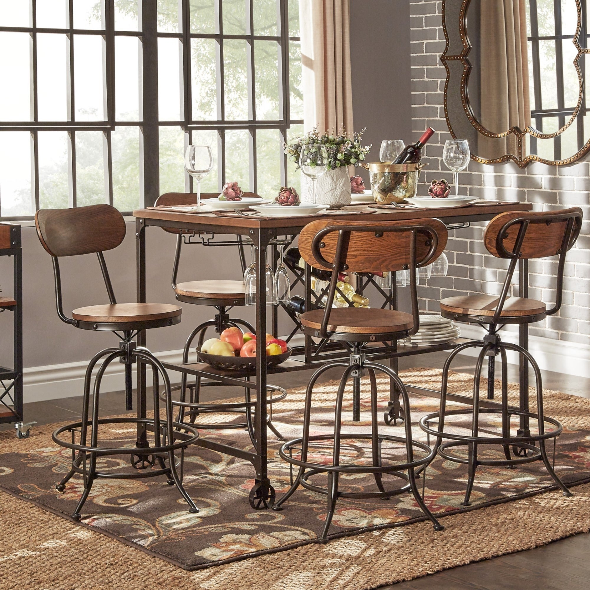 Shop Berwick Industrial Style Counter Height Pub Dining Set With Wine Rack  By INSPIRE Q Classic   On Sale   Free Shipping Today   Overstock.com    10996558