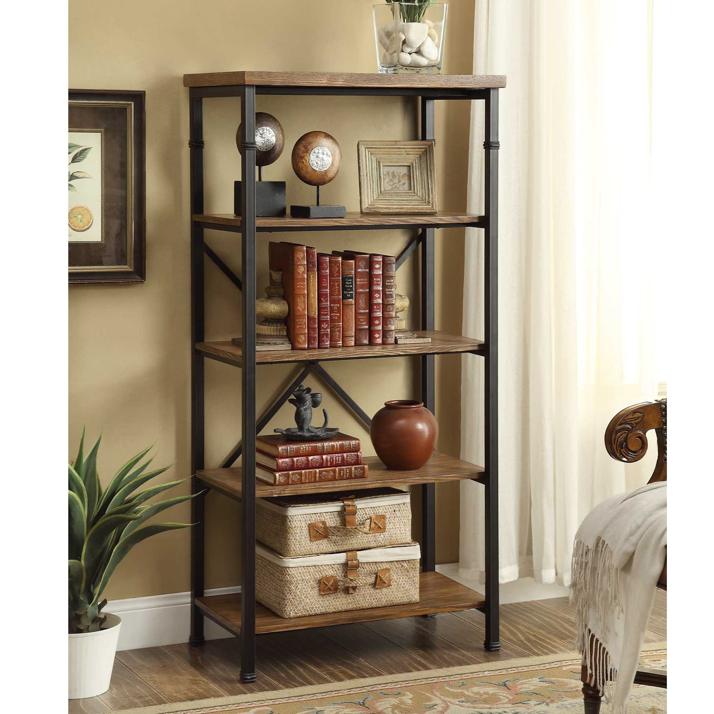 bookcase desk gradient angled bookshelf ip walmart com espresso ameriwood home ladder