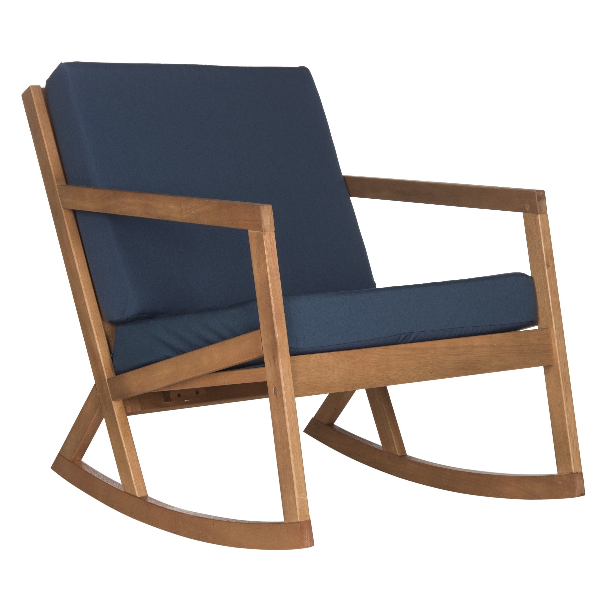 High Quality Shop Safavieh Outdoor Living Vernon Brown/ Navy Rocking Chair   On Sale    Free Shipping Today   Overstock.com   11002116