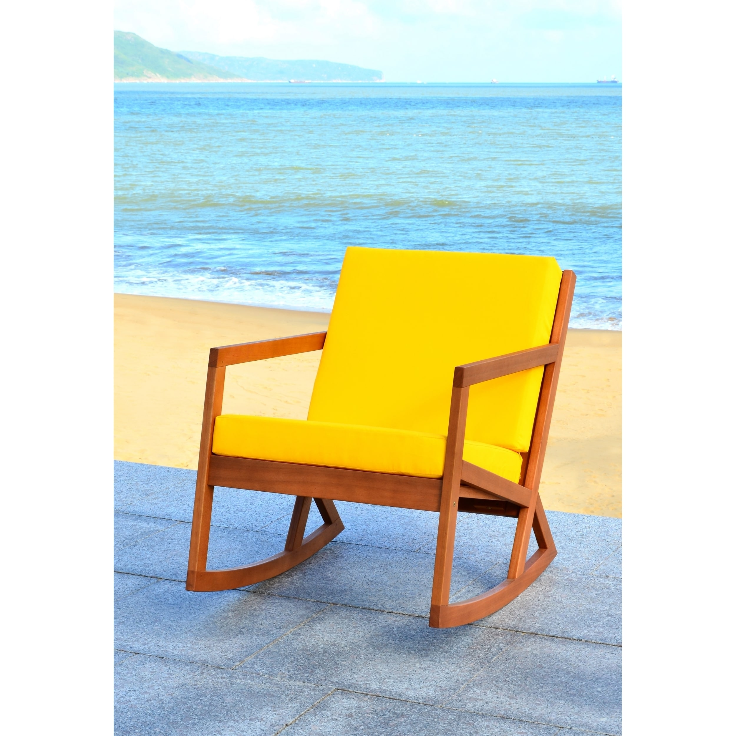 Shop Safavieh Outdoor Living Vernon Brown/ Yellow Rocking Chair   On Sale    Free Shipping Today   Overstock.com   11002117