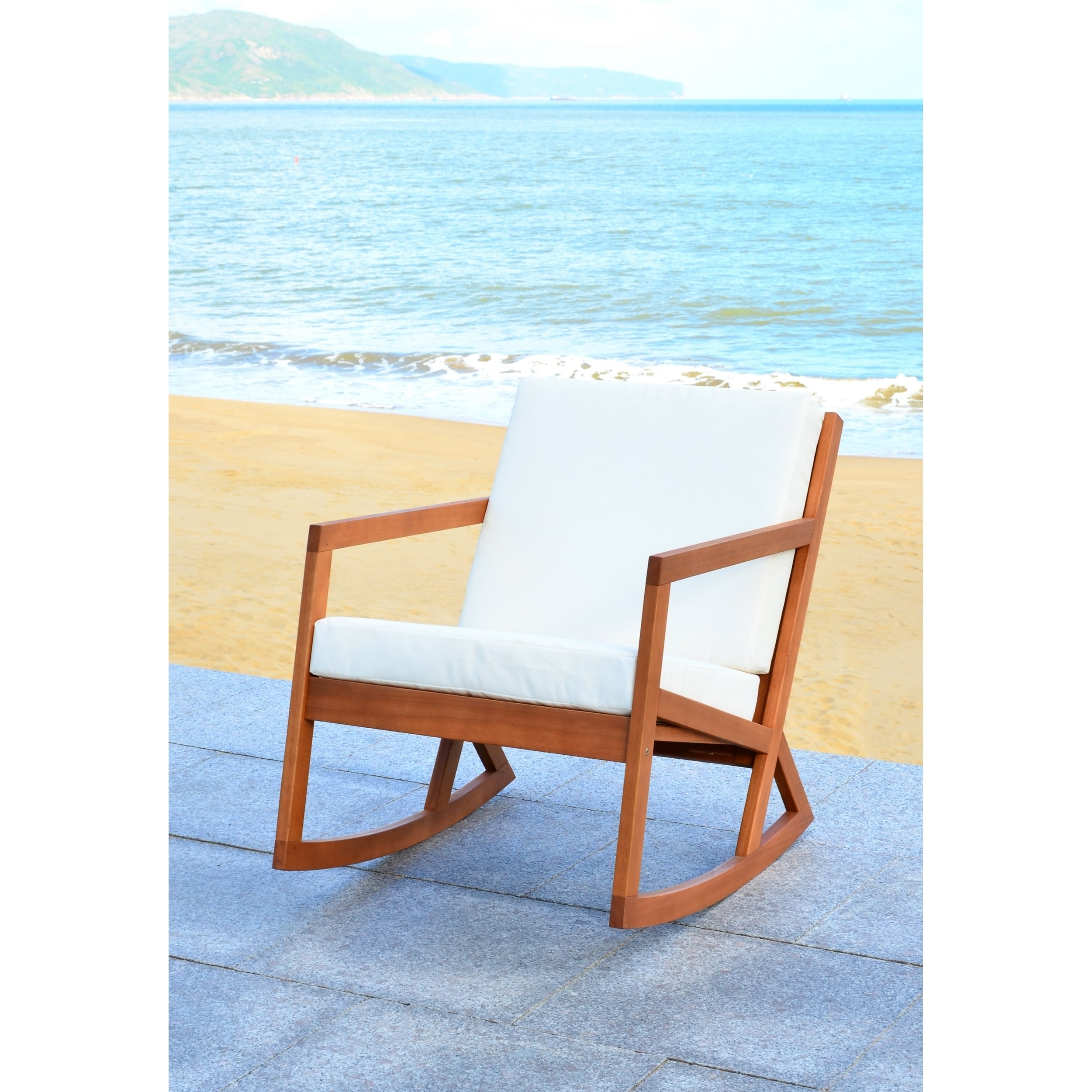 Shop Safavieh Outdoor Living Vernon Brown/ Beige Rocking Chair   Free  Shipping Today   Overstock.com   11002120