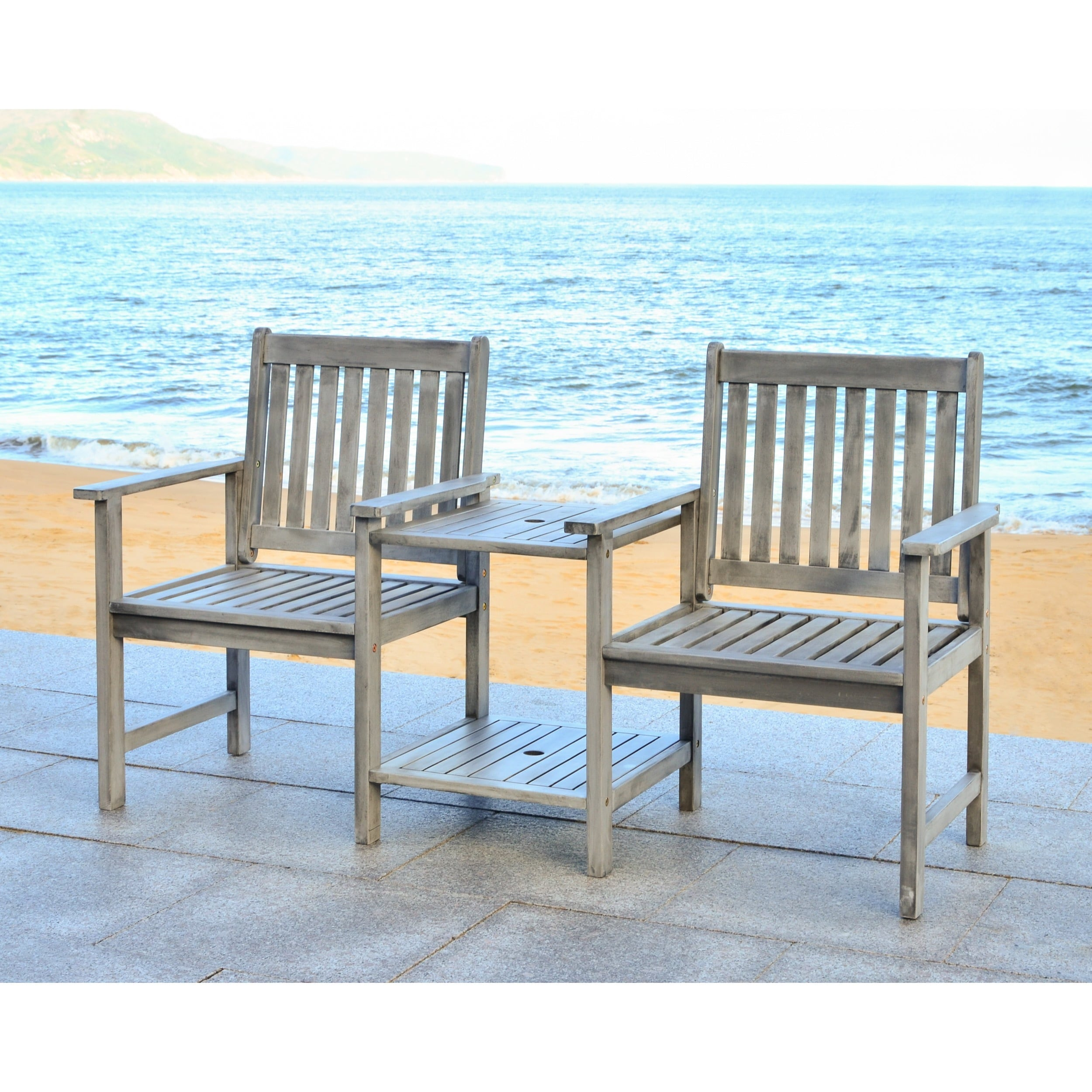 Shop Safavieh Outdoor Living Brea Grey Twin Seat Bench - Free ...