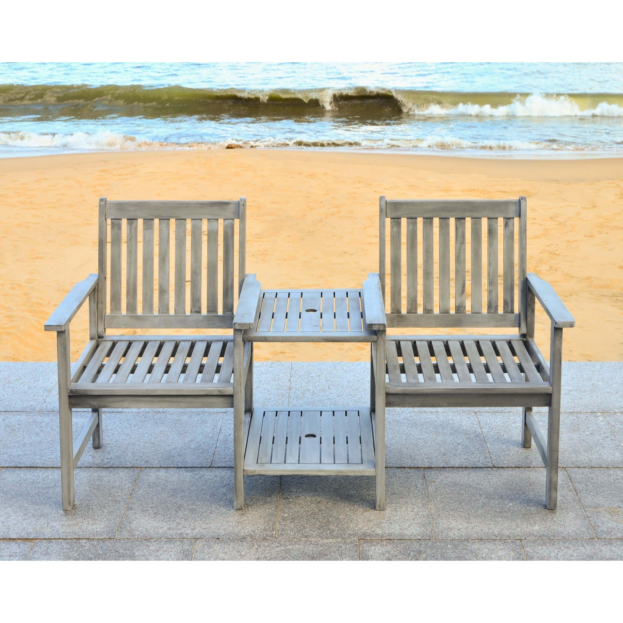 Safavieh Outdoor Living Brea Grey Twin Seat Bench - Free Shipping ...