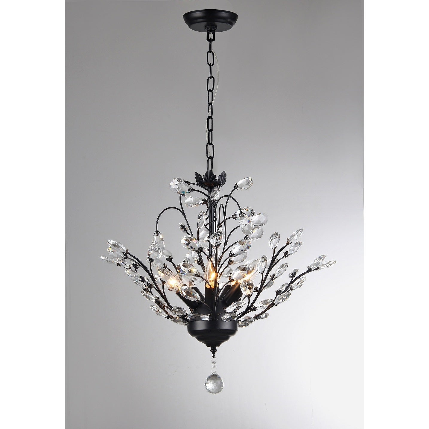 Shop Aria 5-light Black 20-inch Crystal Leaves Chandelier - On Sale ...
