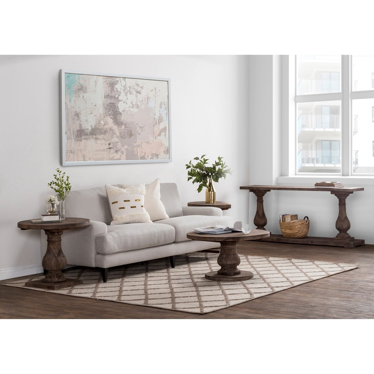 Shop carolina reclaimed wood round coffee table by kosas home on sale free shipping today overstock com 11002590