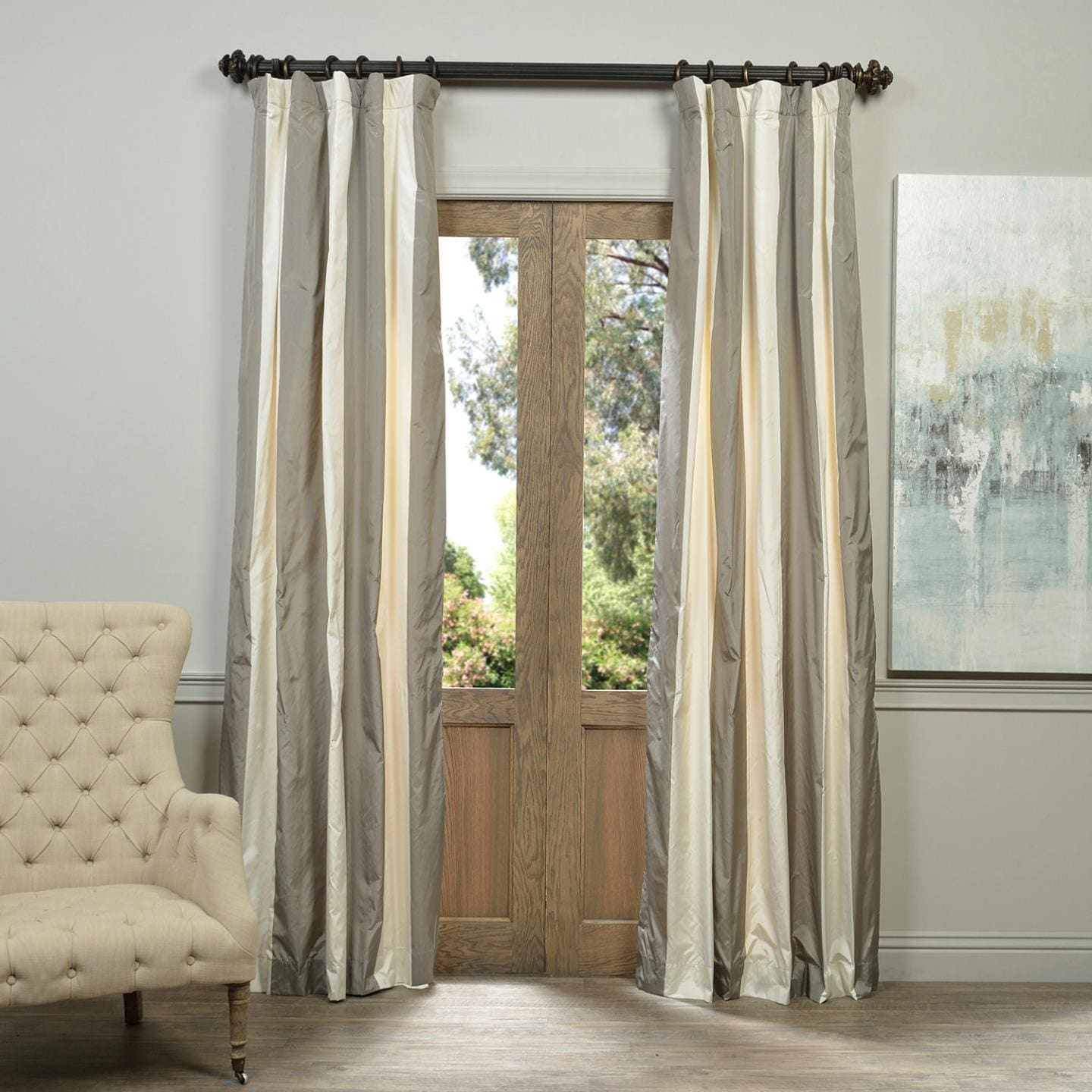 Exclusive Fabrics Denmark Faux Silk Taffeta Stripe Curtain Panel - Free  Shipping Today - Overstock.com - 18021997