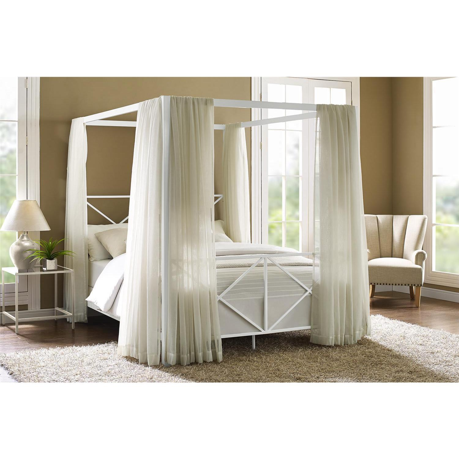 Superbe Shop DHP Rosedale White Metal Canopy Queen Bed   Free Shipping Today    Overstock.com   20255017