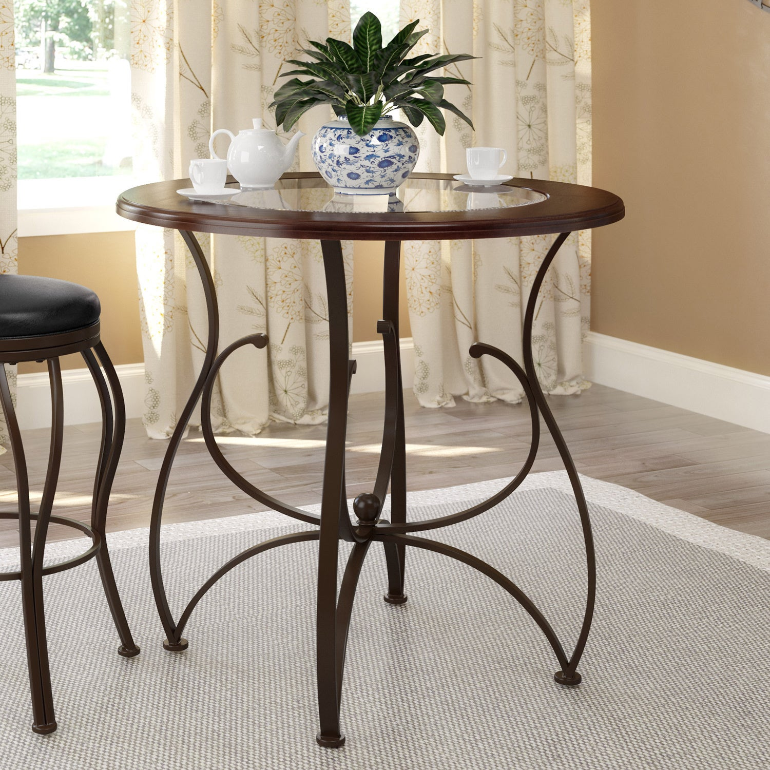 Shop CorLiving Warm Stained Wood And Glass Counter Height Dining Table    Brown   Free Shipping Today   Overstock.com   11007158