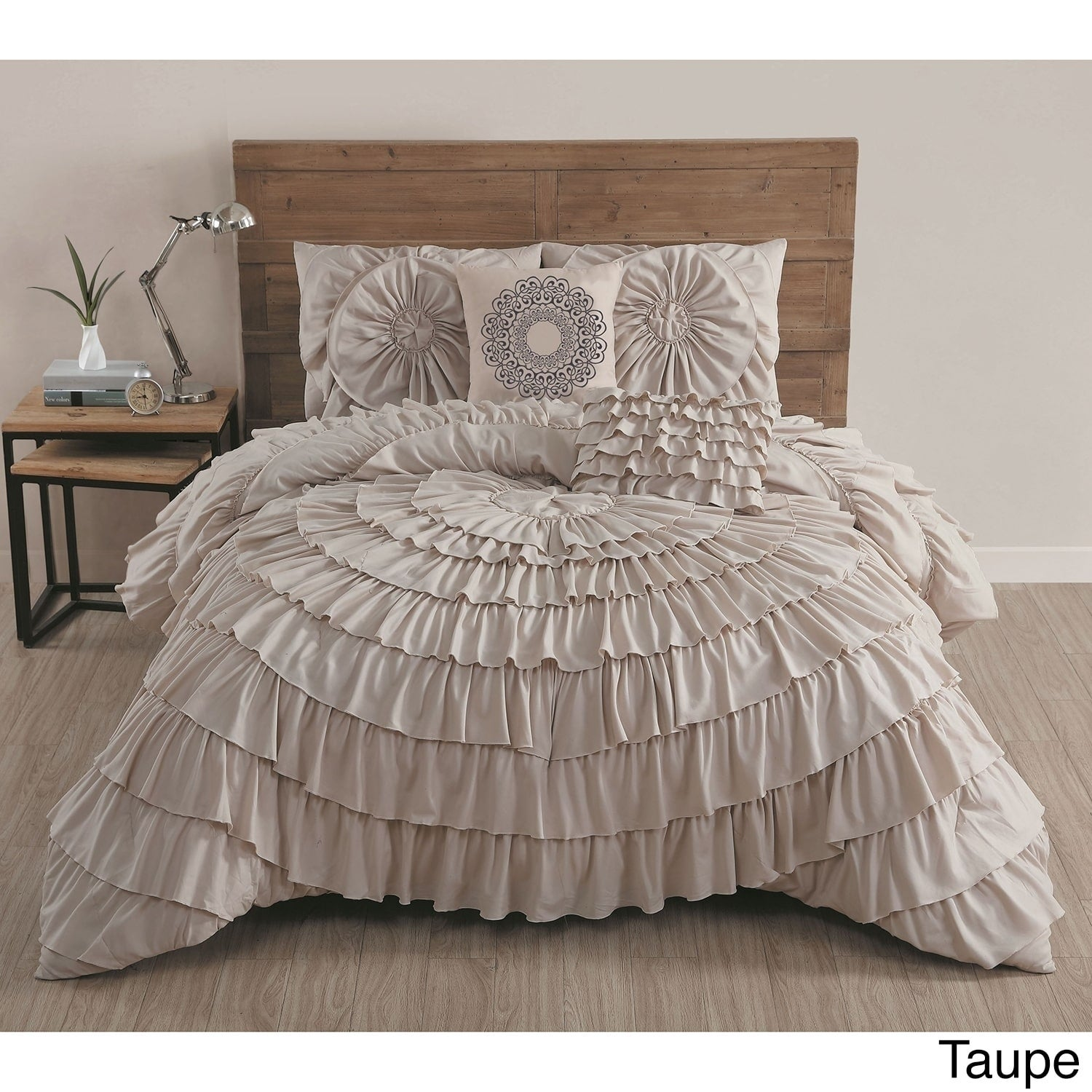 collections bedding comforter queen chezmoi embroidered linen faux piece set taupe sets collection roses medium by thalia