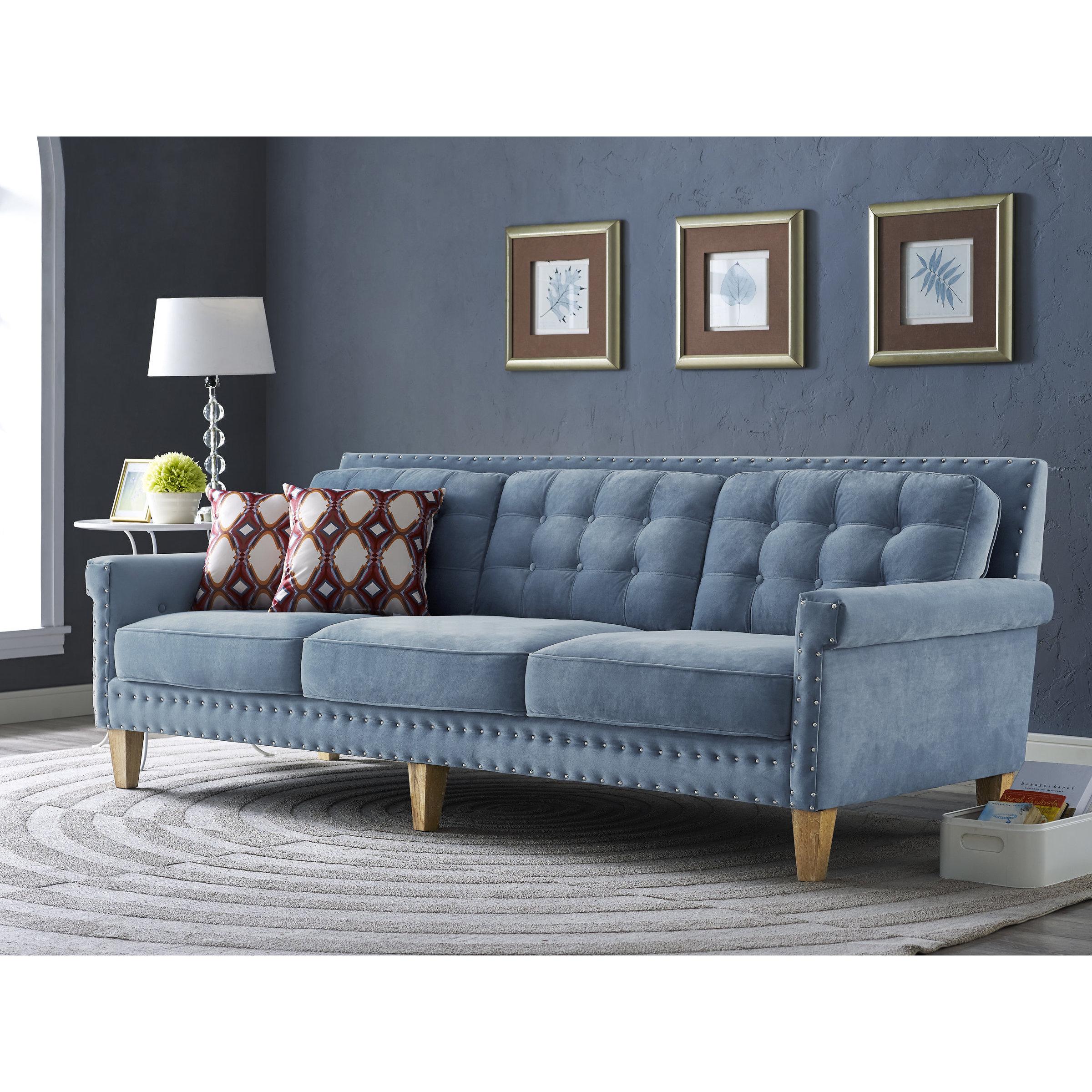 Jonathan Blue Velvet Sofa Free Shipping Today Overstock