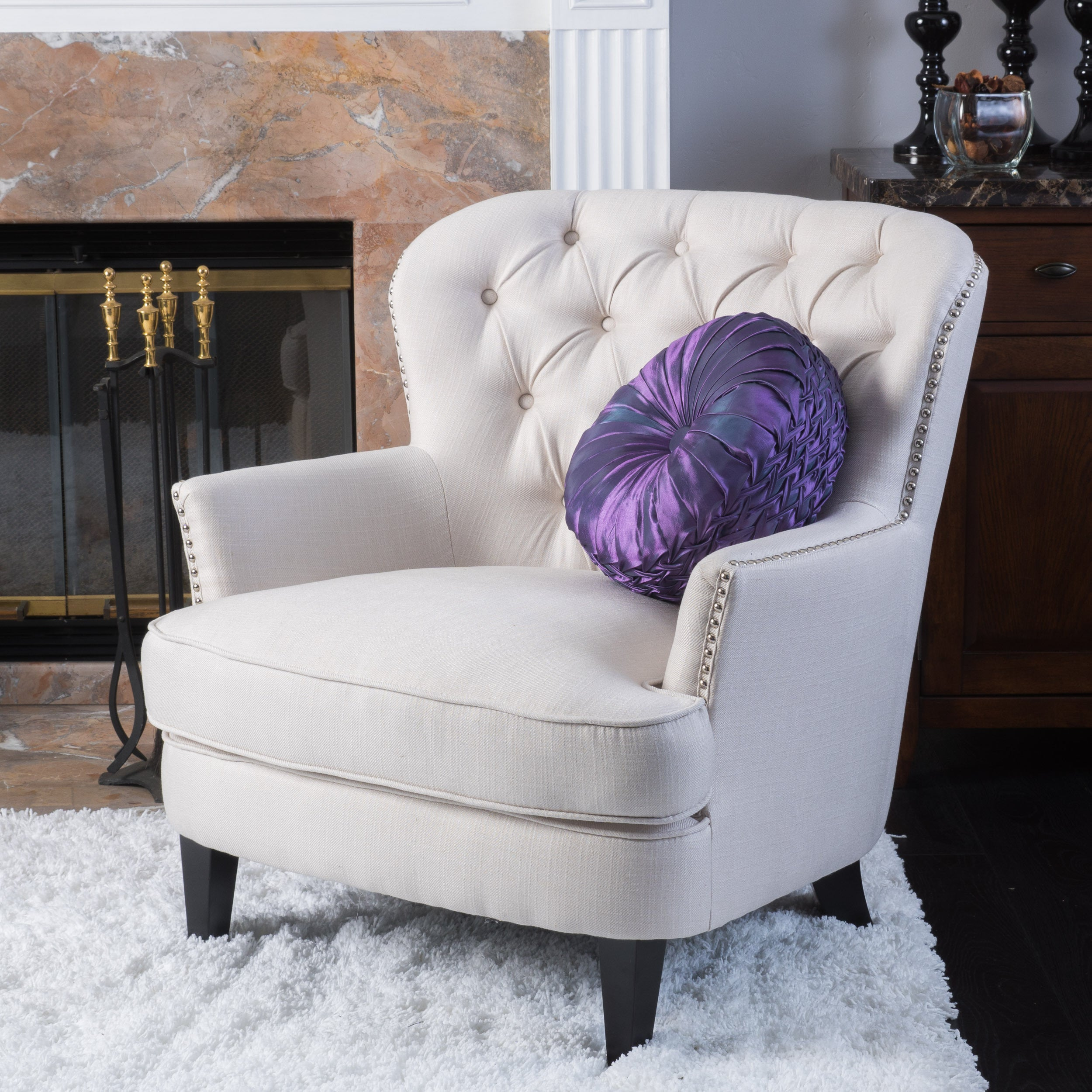 Shop Button Tufted Ivory Fabric Arm Chair - Free Shipping Today ...