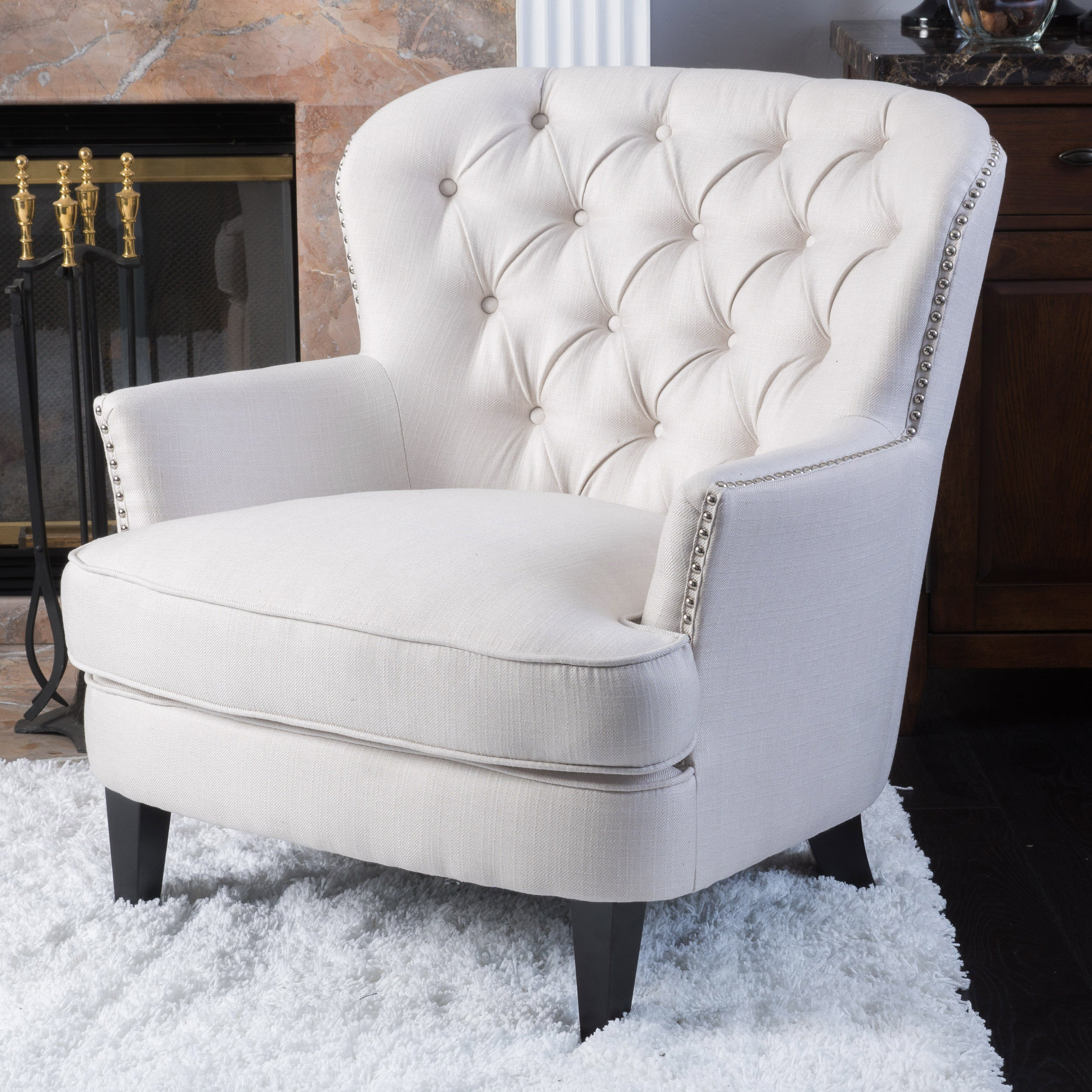 Button Tufted Ivory Fabric Arm Chair   Free Shipping Today   Overstock    18033556