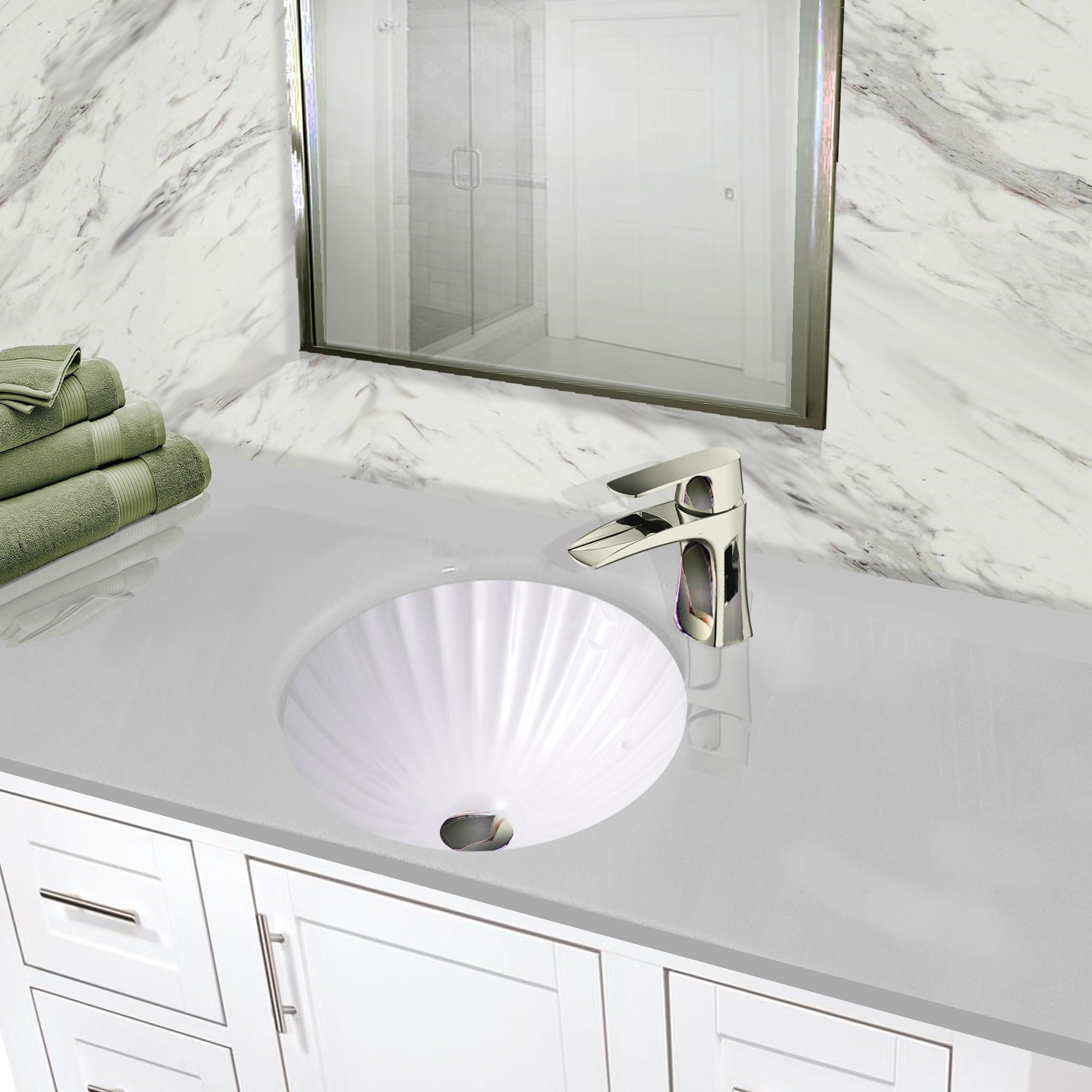 Exceptionnel Shop Highpoint Collection 12 Inch Round White Bathroom Vanity Undermount  Sink With Scalloped Basin   Free Shipping Today   Overstock.com   11017191