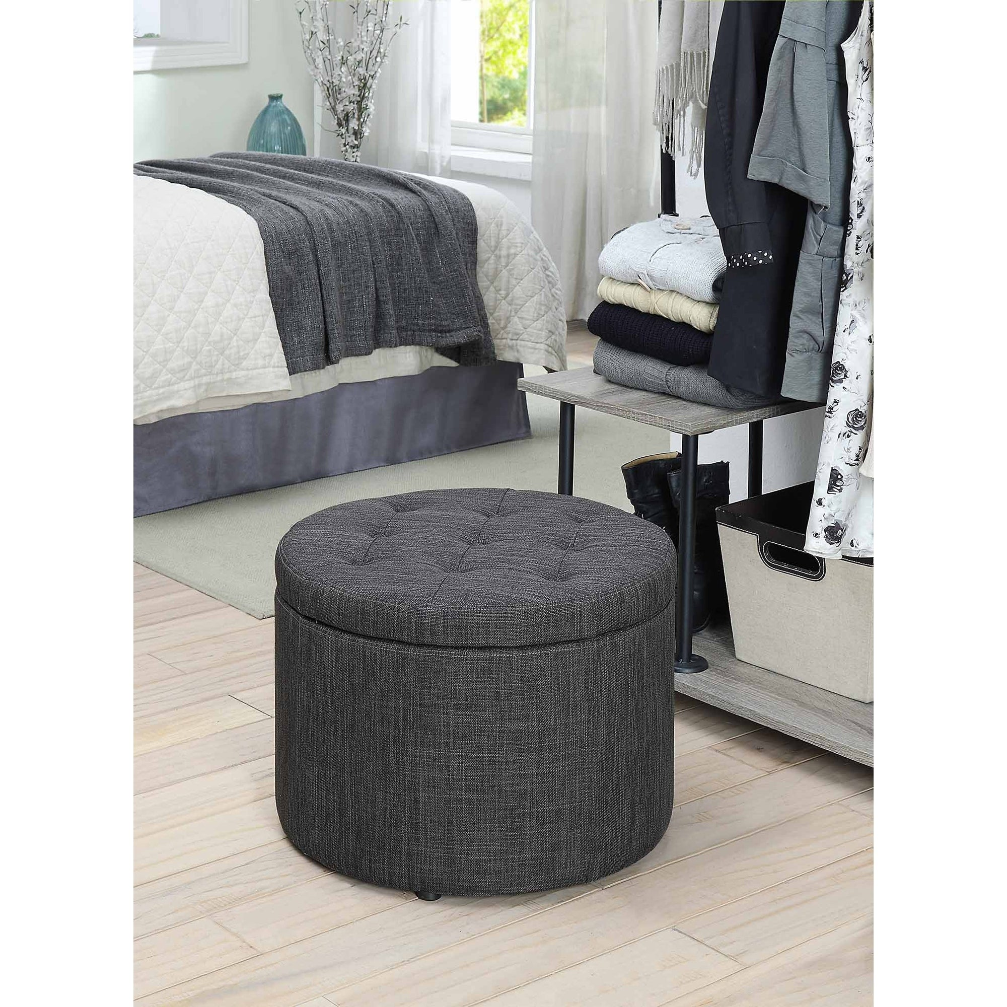 Shoe Ottoman Part - 34: Porch U0026 Den Bywater Congress Round Shoe Storage Ottoman - Free Shipping  Today - Overstock.com - 18036358