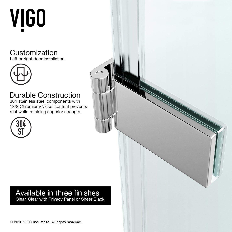 Shop VIGO SoHo 28-inch Adjustable Frameless Shower Door with Privacy ...