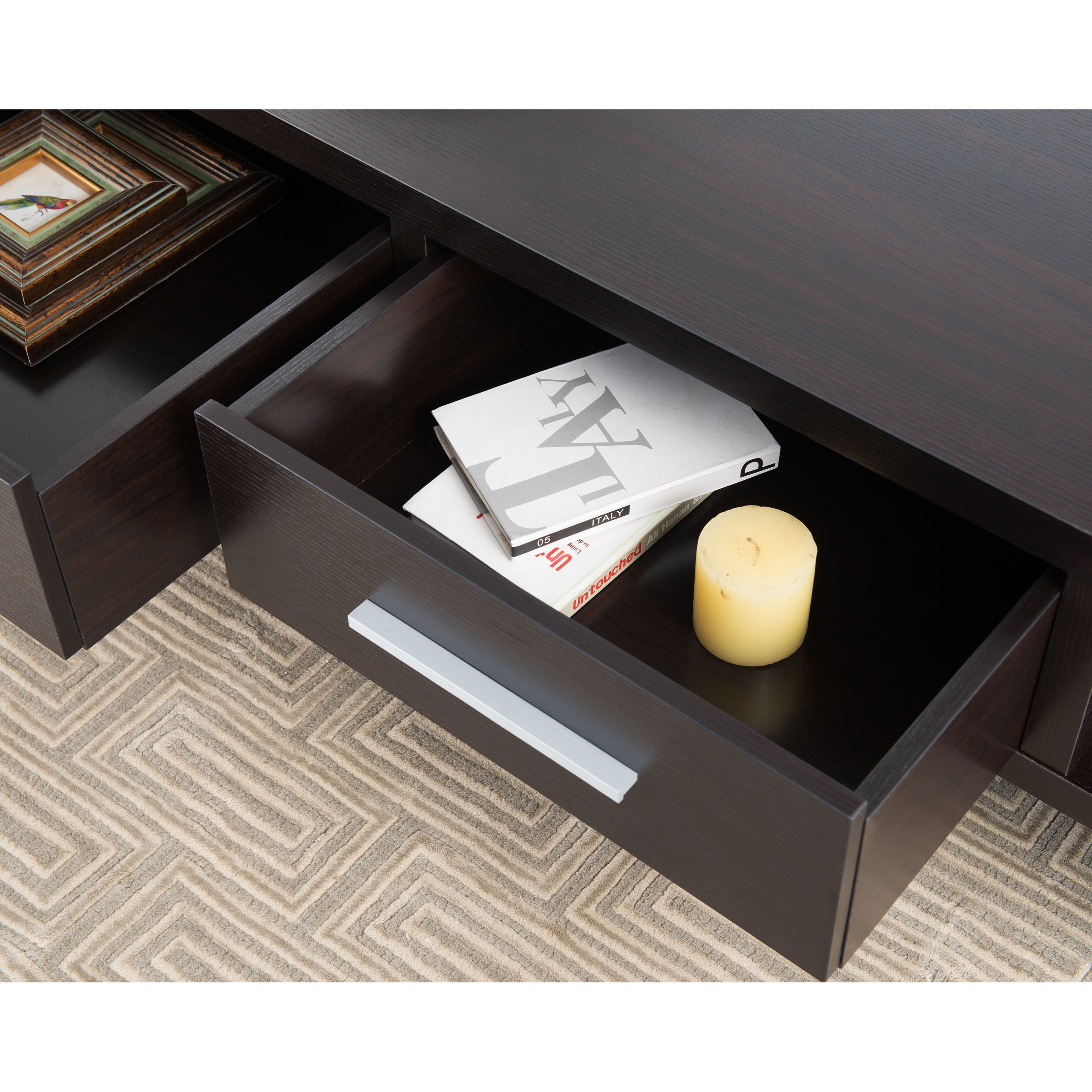 Furniture of America Tepekiie 2 drawer Cappuccino Open Coffee
