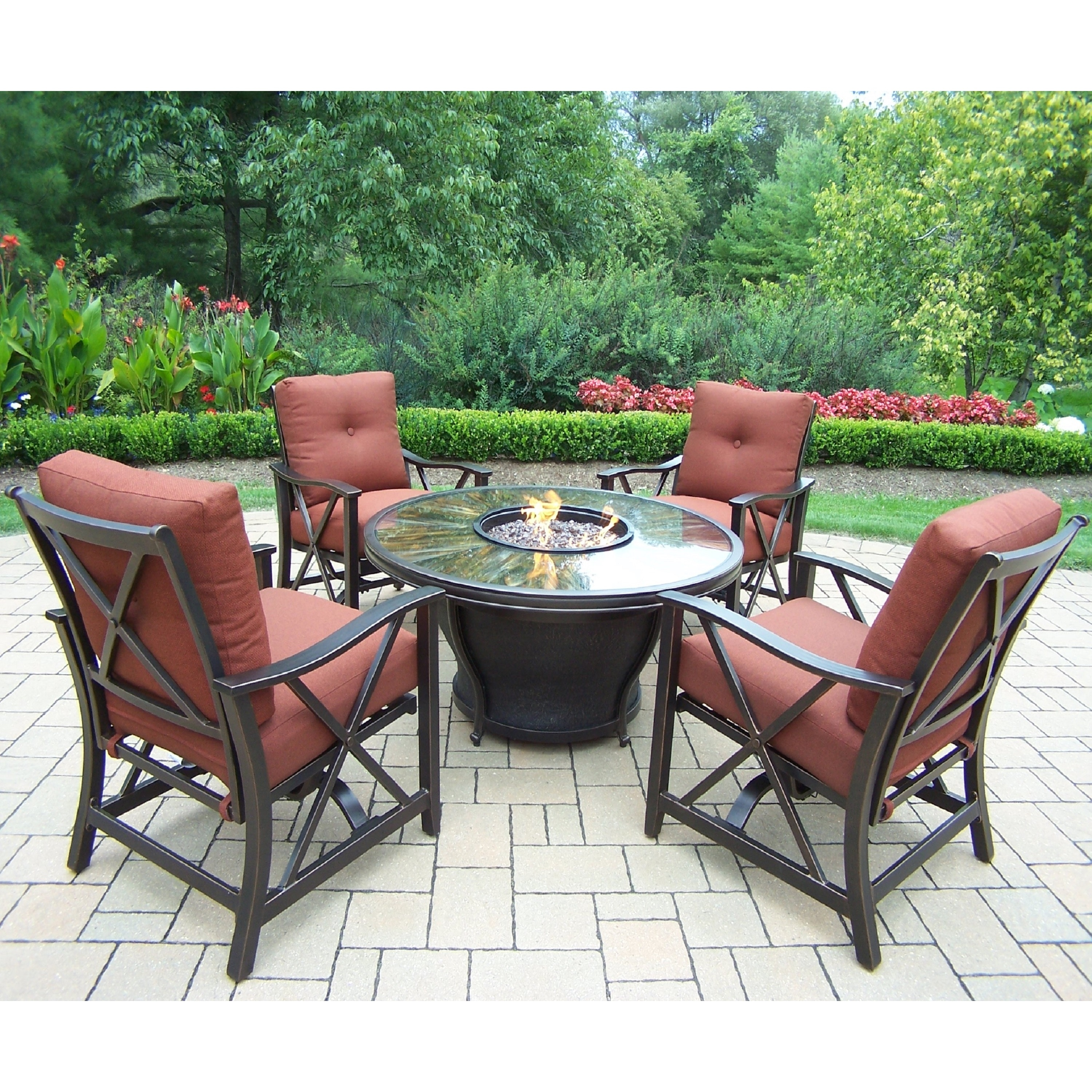 Shop Chat Set With Round Firepit Table, Cover, Rocking Chairs And Cushions    On Sale   Free Shipping Today   Overstock.com   11020046