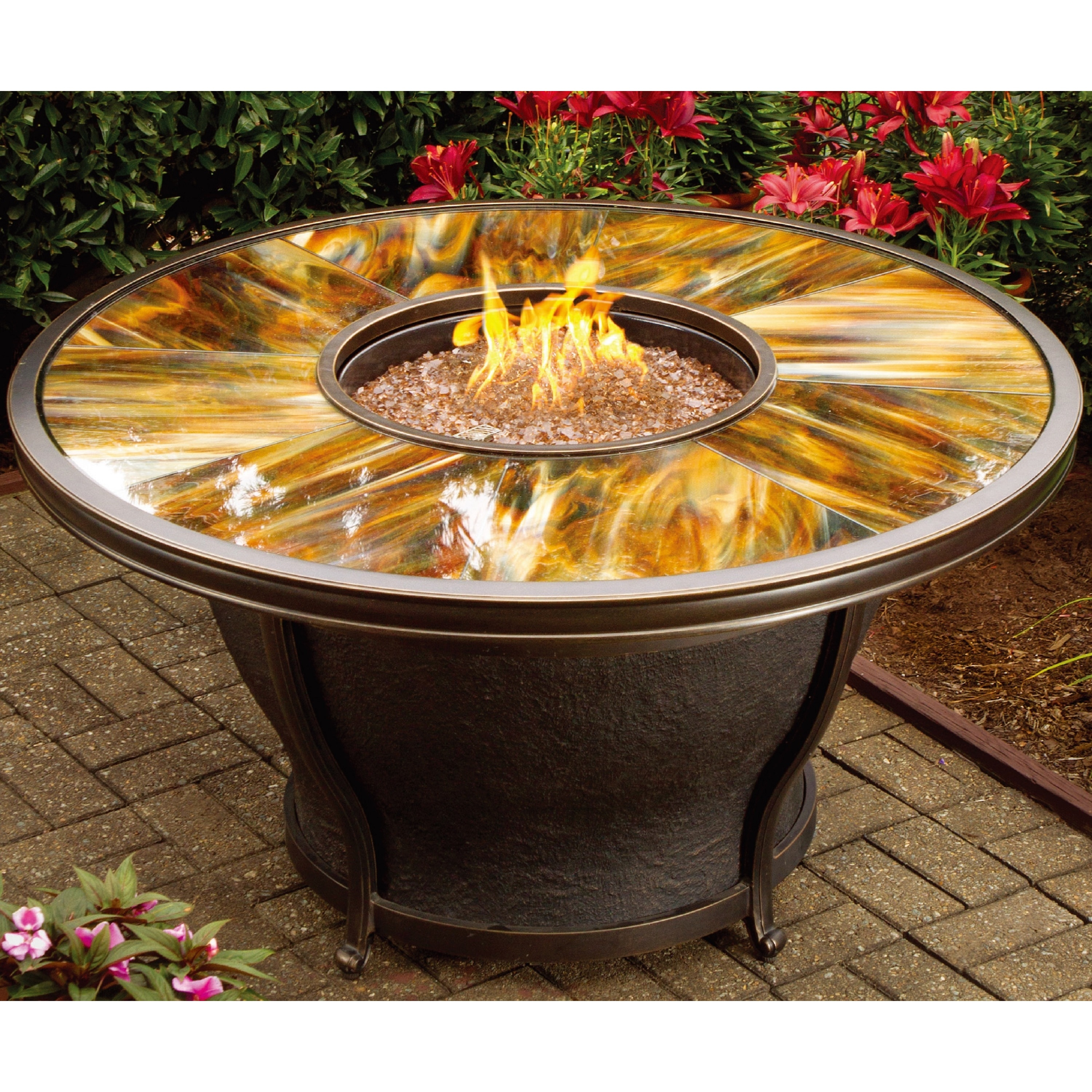 Shop Round Fire Pit Table, Glass Beads, Cover, Rocking Chairs And Cushions    Free Shipping Today   Overstock.com   11020047