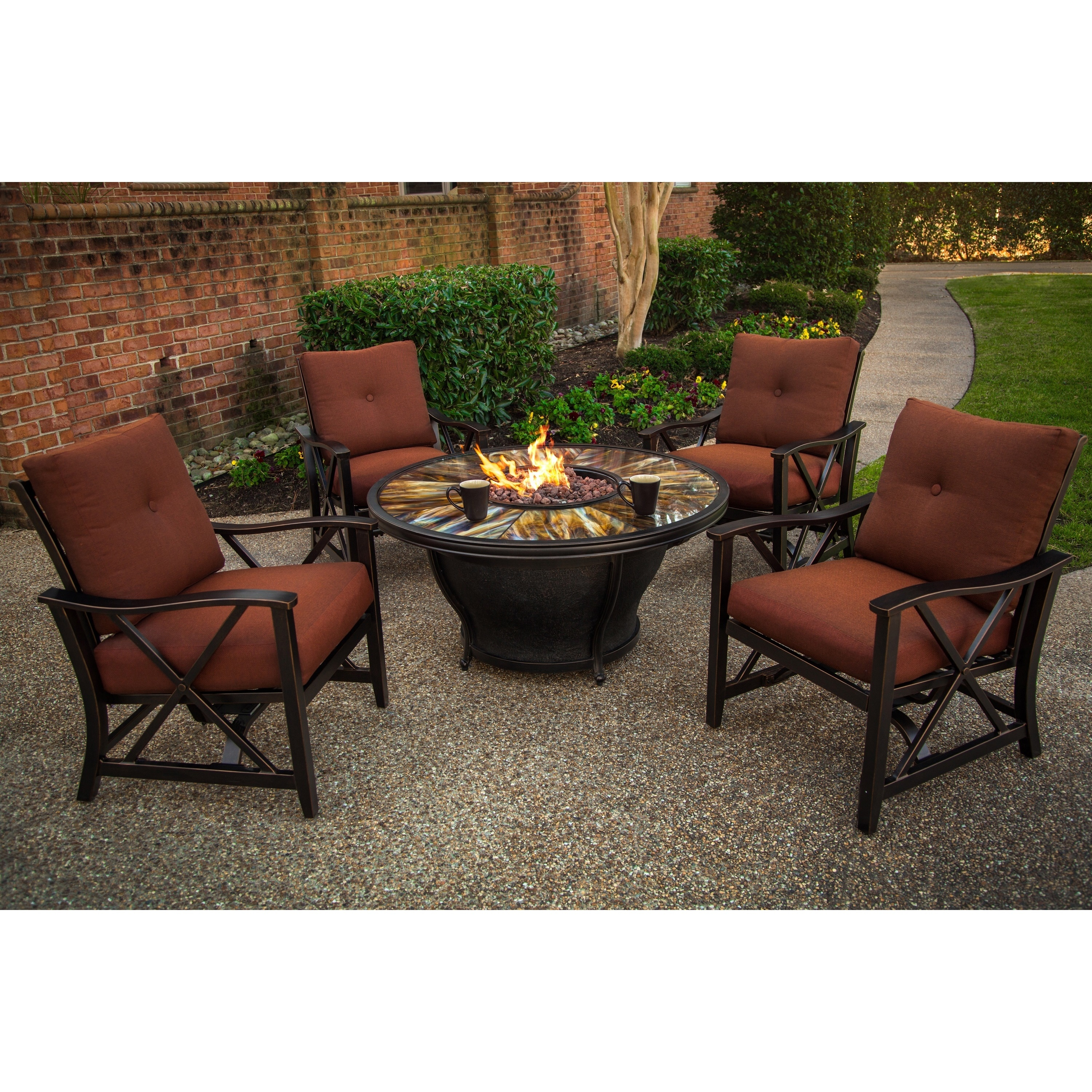 Fire Pit Table Beads Cover Lazy Susan Rocking Chairs And Cushions