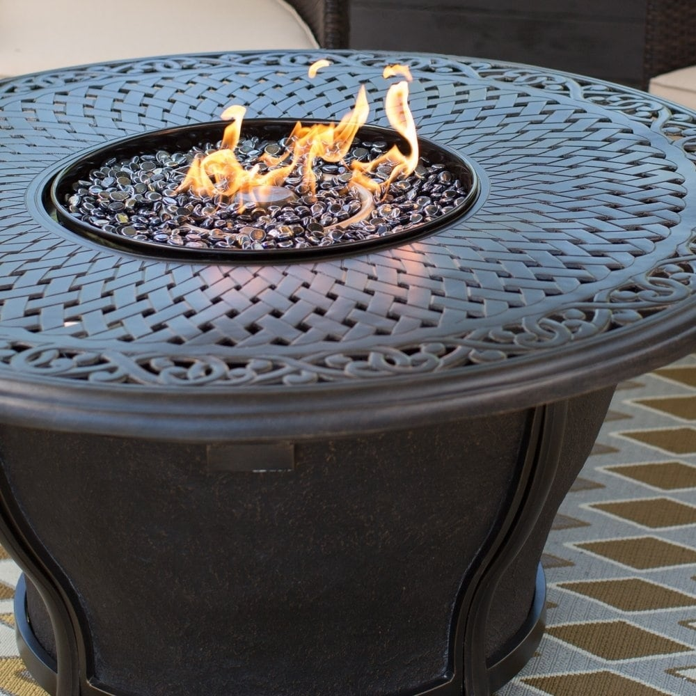 Shop Round Aluminum Gas Firepit Table With Burner And Weather Fabric Cover    Free Shipping Today   Overstock.com   11020196
