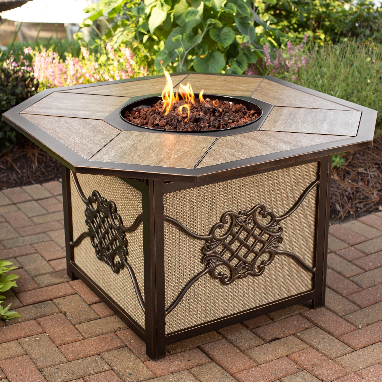 Premium Memorial 5 piece Porcelain Octagon Gas Firepit Table Chat