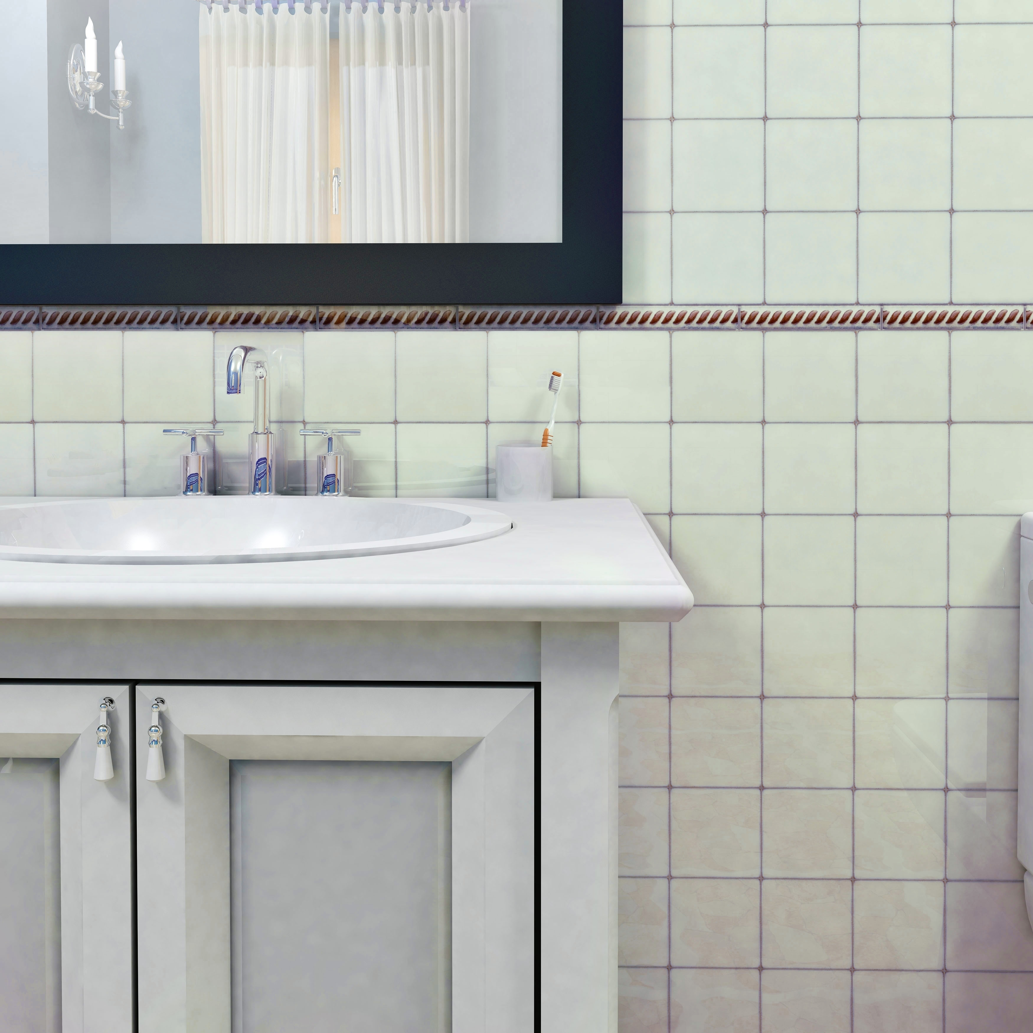 Shop SomerTile 4x4-inch Aspect Ivory White Porcelain Floor and Wall ...
