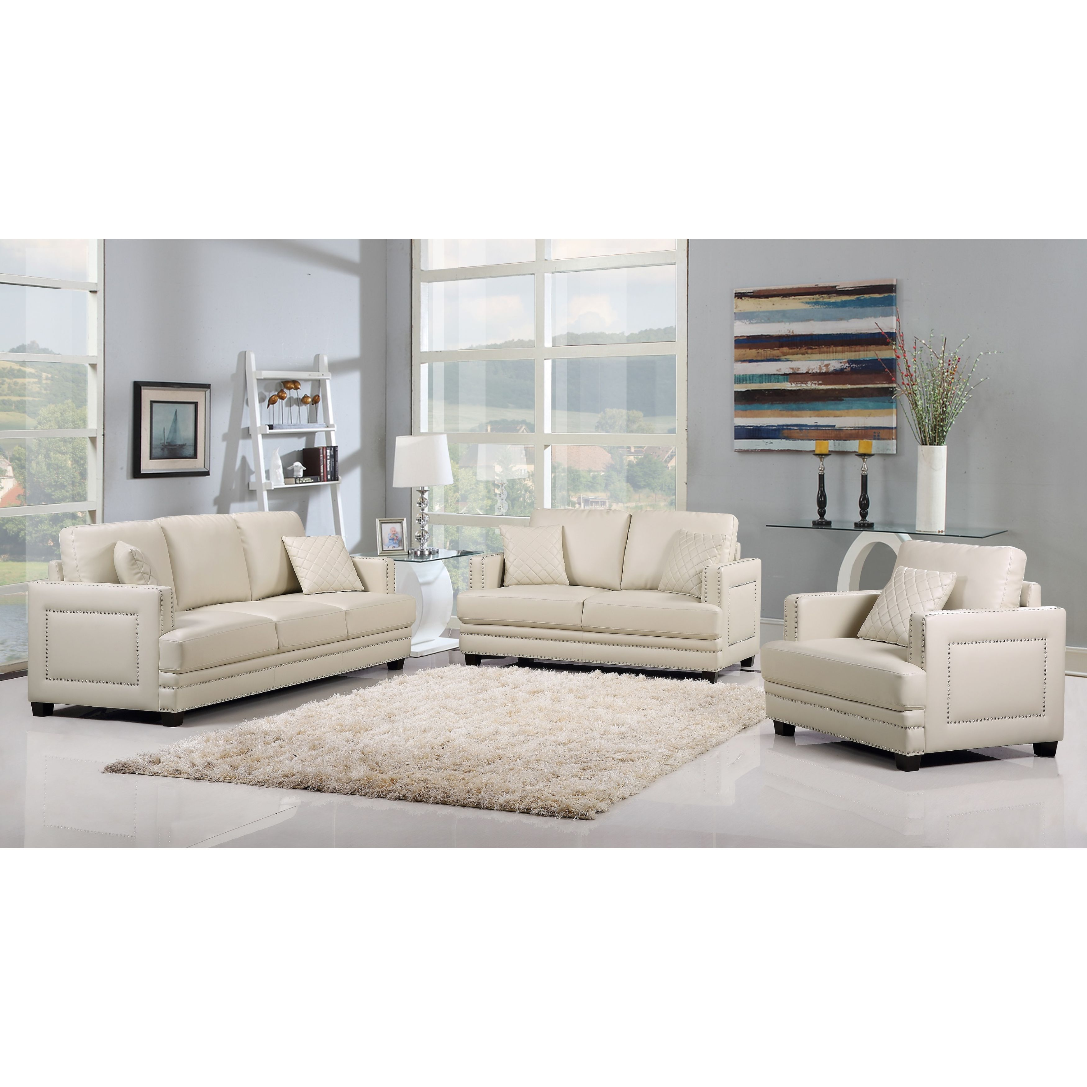 Ferrara Beige Leather Nailhead Modern Contemporary Living Room Set ...