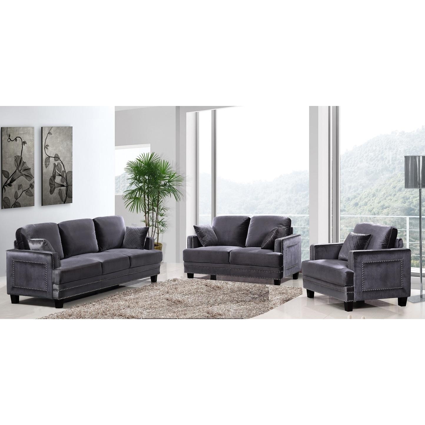 Ferrara grey velvet nailhead living room set
