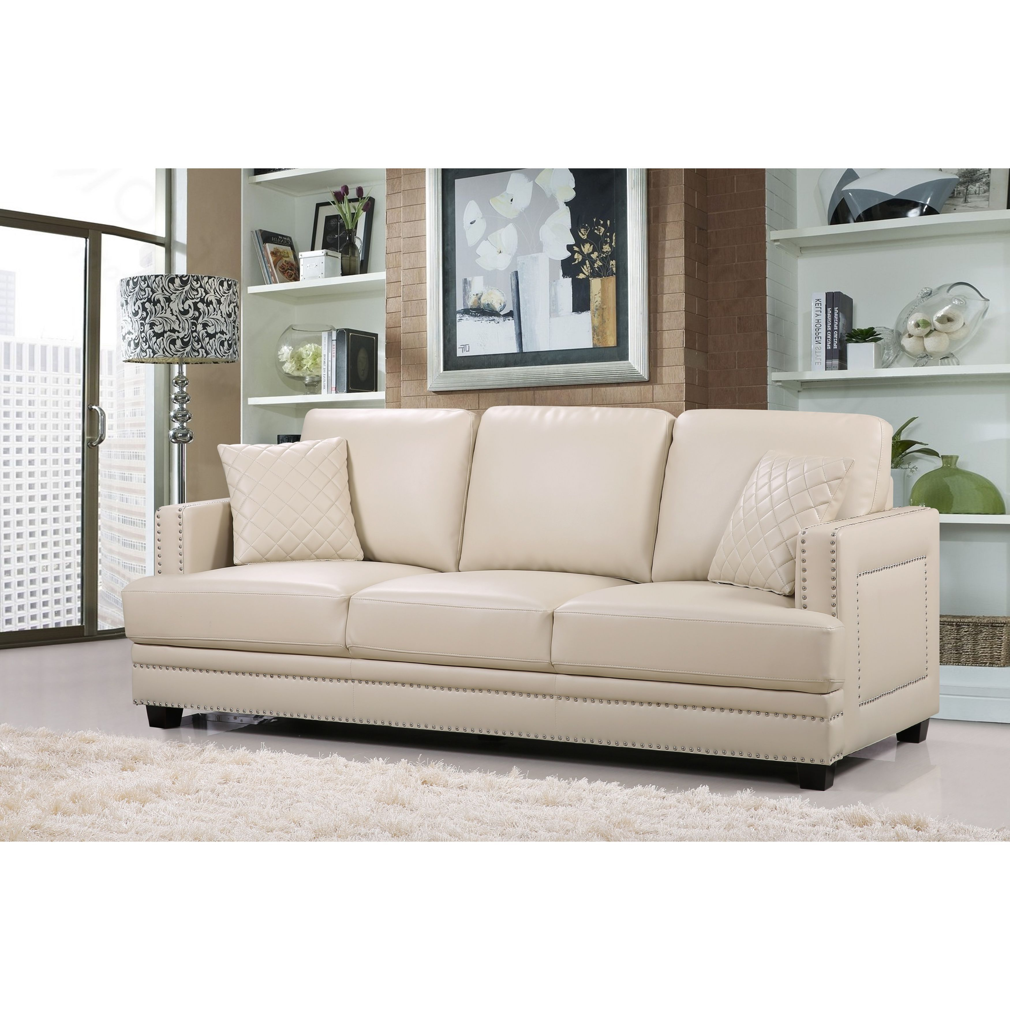 Shop Ferrara Beige Leather Nailhead Sofa   Free Shipping Today    Overstock.com   11023835