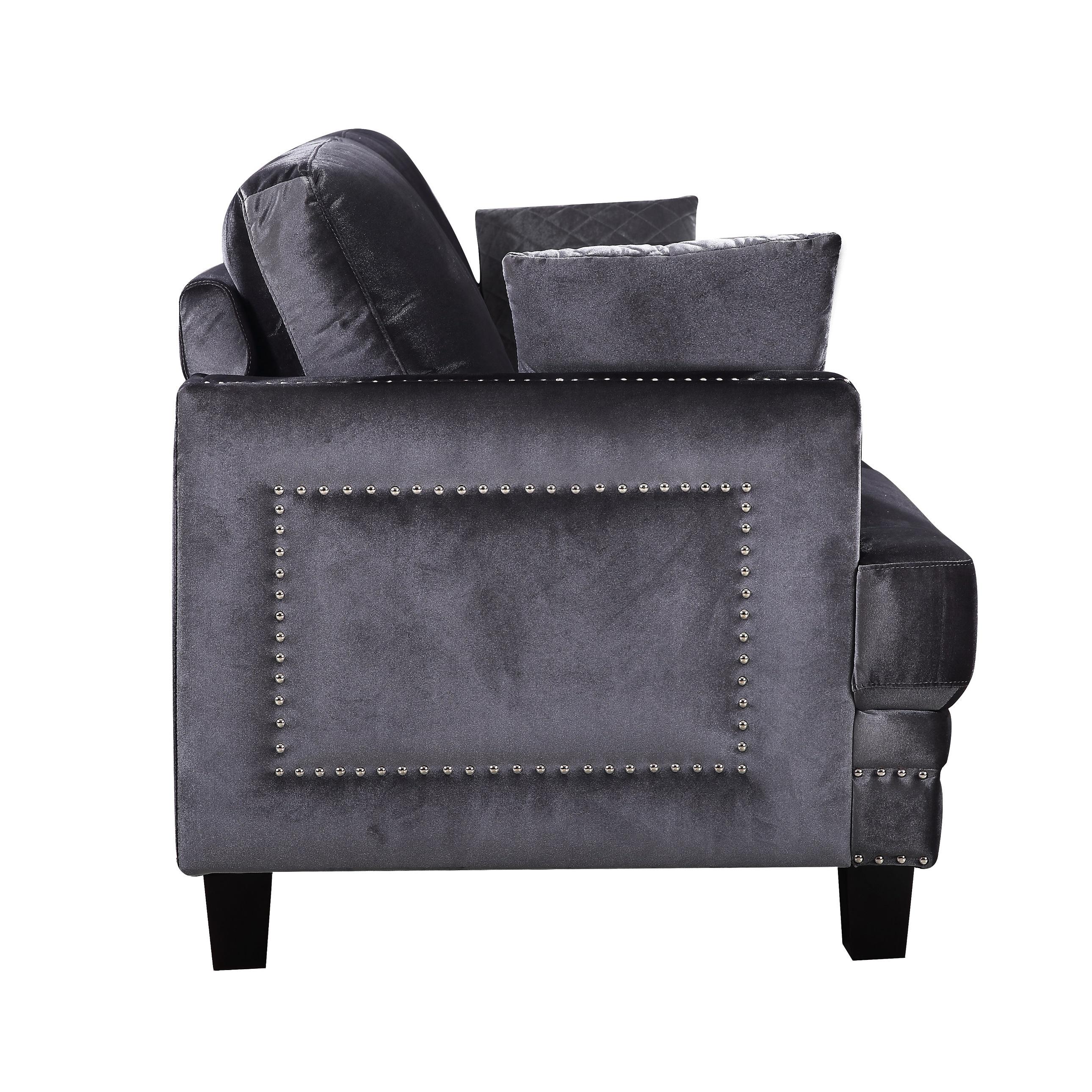 Ferrara Grey Velvet Nailhead Sofa   Free Shipping Today   Overstock.com    18039481