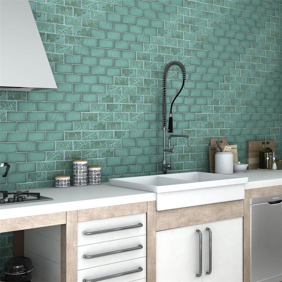 Shop SomerTile 3x6-inch Antiguo Special Lava Verde Ceramic Wall Tile ...