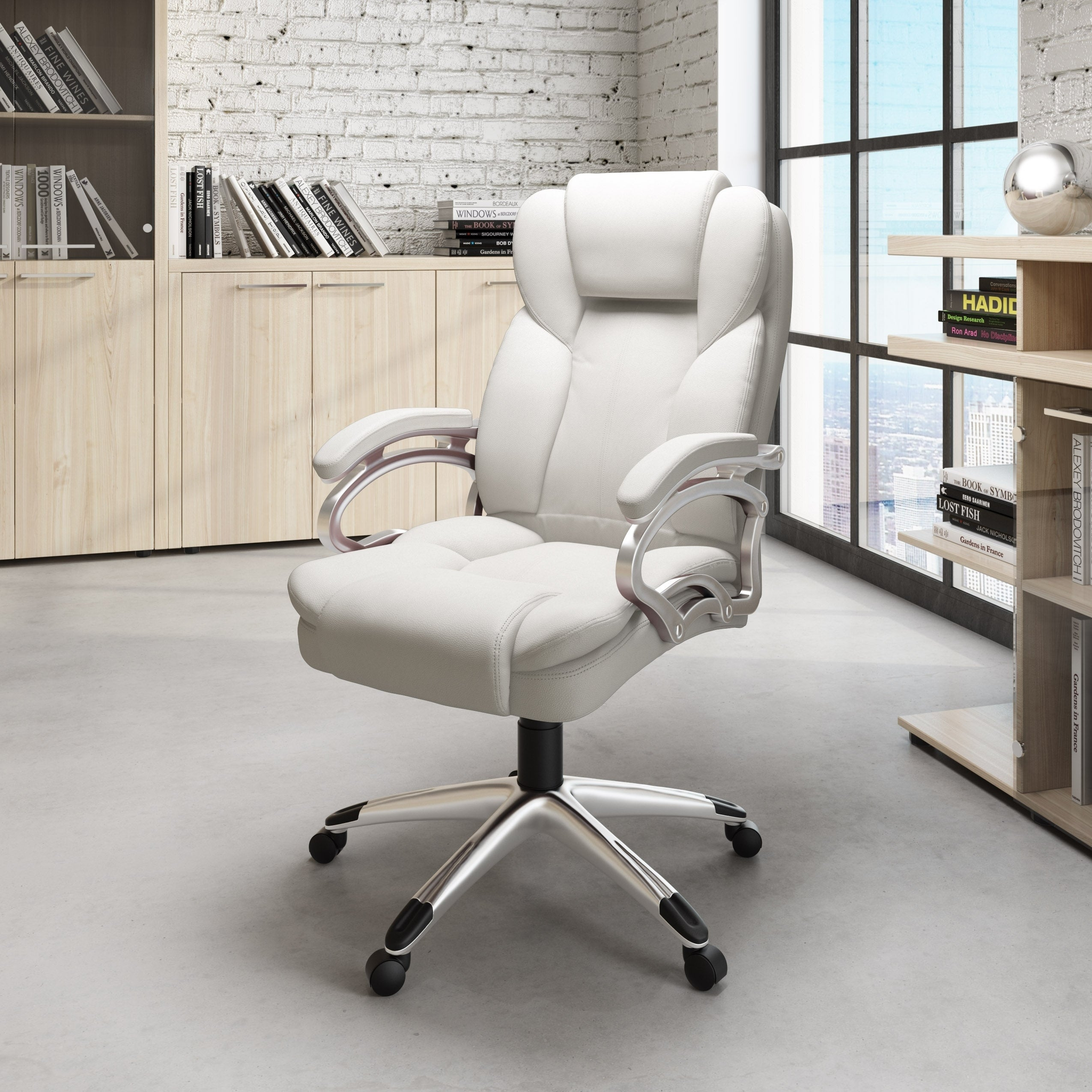 Executive White Leatherette Office Chair Free Shipping Today 11040756