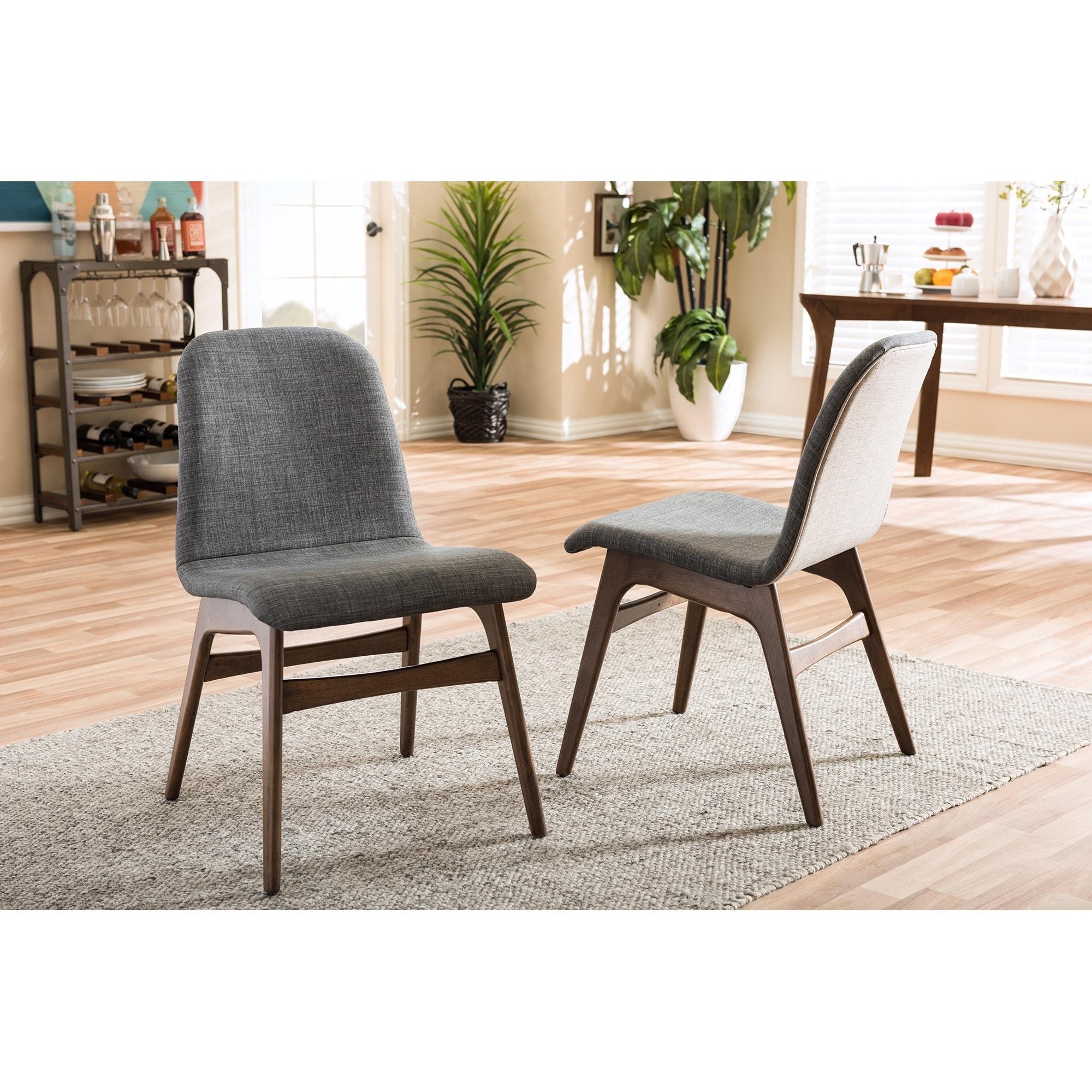 Baxton Studio Embrace Mid Century Retro Modern Scandinavian Style Dark Grey Fabric Upholstered Walnut Finish Dining Chair Set 2