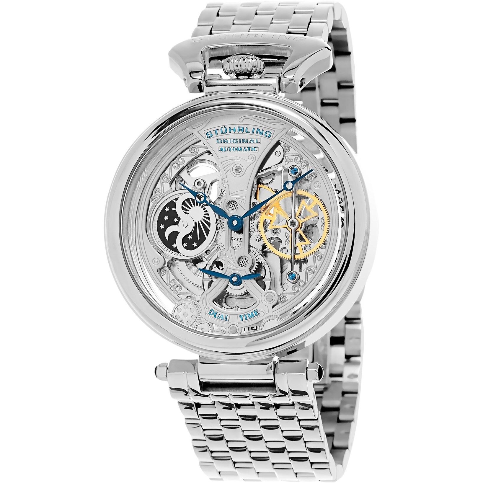 ec5a04370 Stuhrling Original Men's Legacy Automatic Skeleton Stainless Steel Bracelet  Watch - silver
