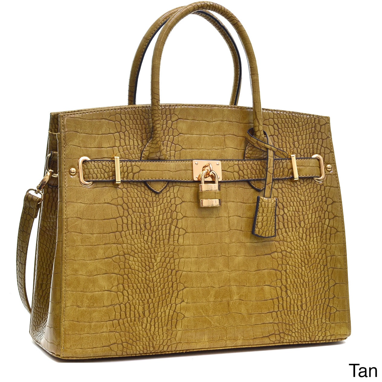 Shop Dasein Crocodile Embossed Satchel Handbag with Padlock - On ...
