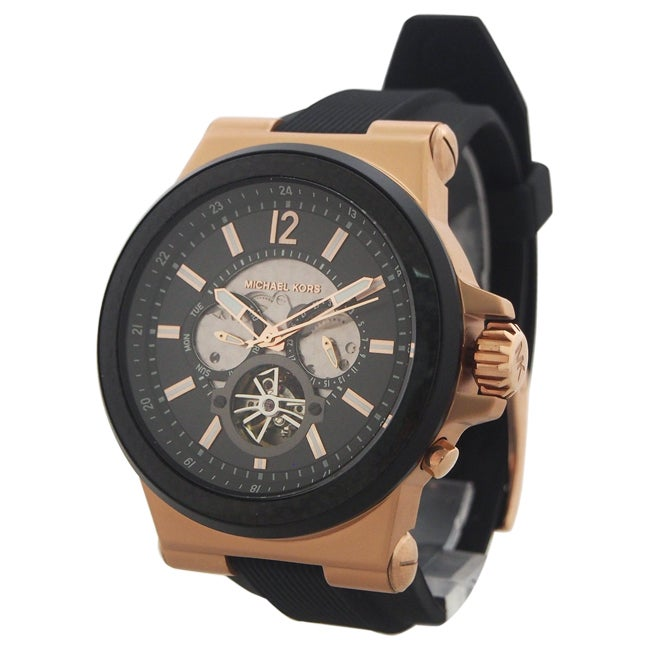 c85258b8fad4 Shop Michael Kors Men s MK9019 Dylan Automatic Black Dial Black Silicone  Watch - Free Shipping Today - Overstock - 11043843