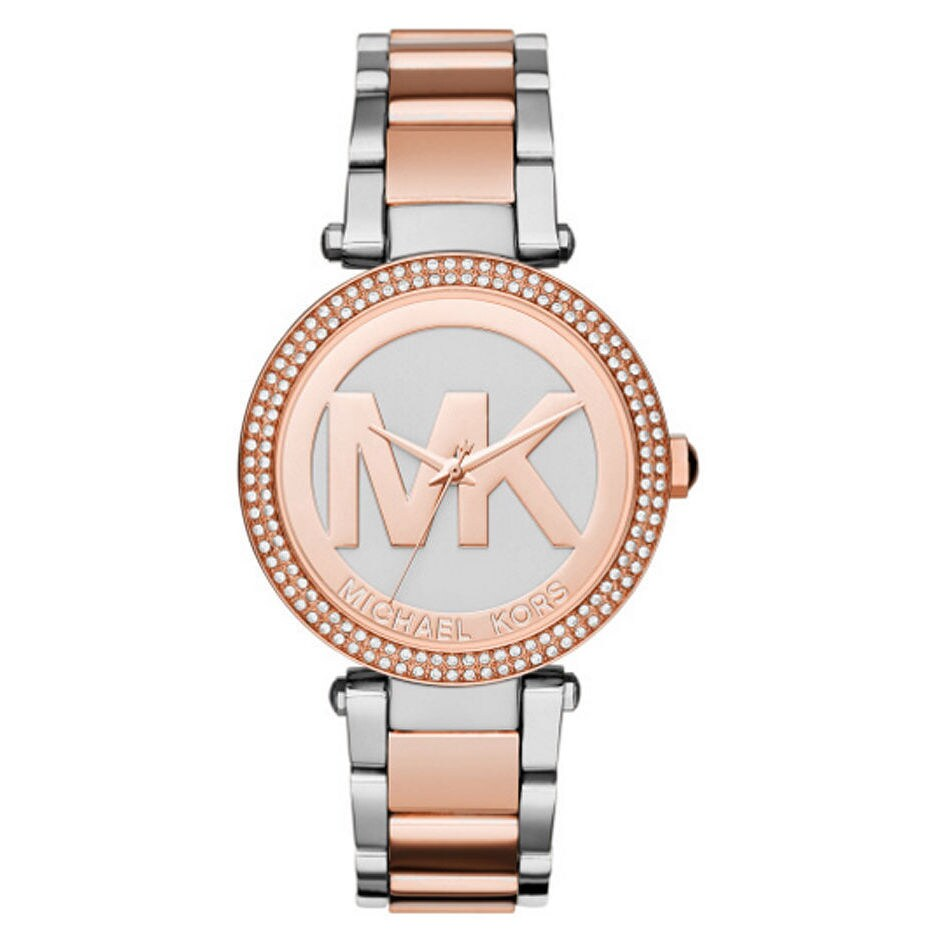 4ff00723356c Shop Michael Kors Women s MK6314 Parker Crystal Bezel Silver Logo Dial Two- Tone Stainless Steel Bracelet Watch - Free Shipping Today - Overstock -  11043882