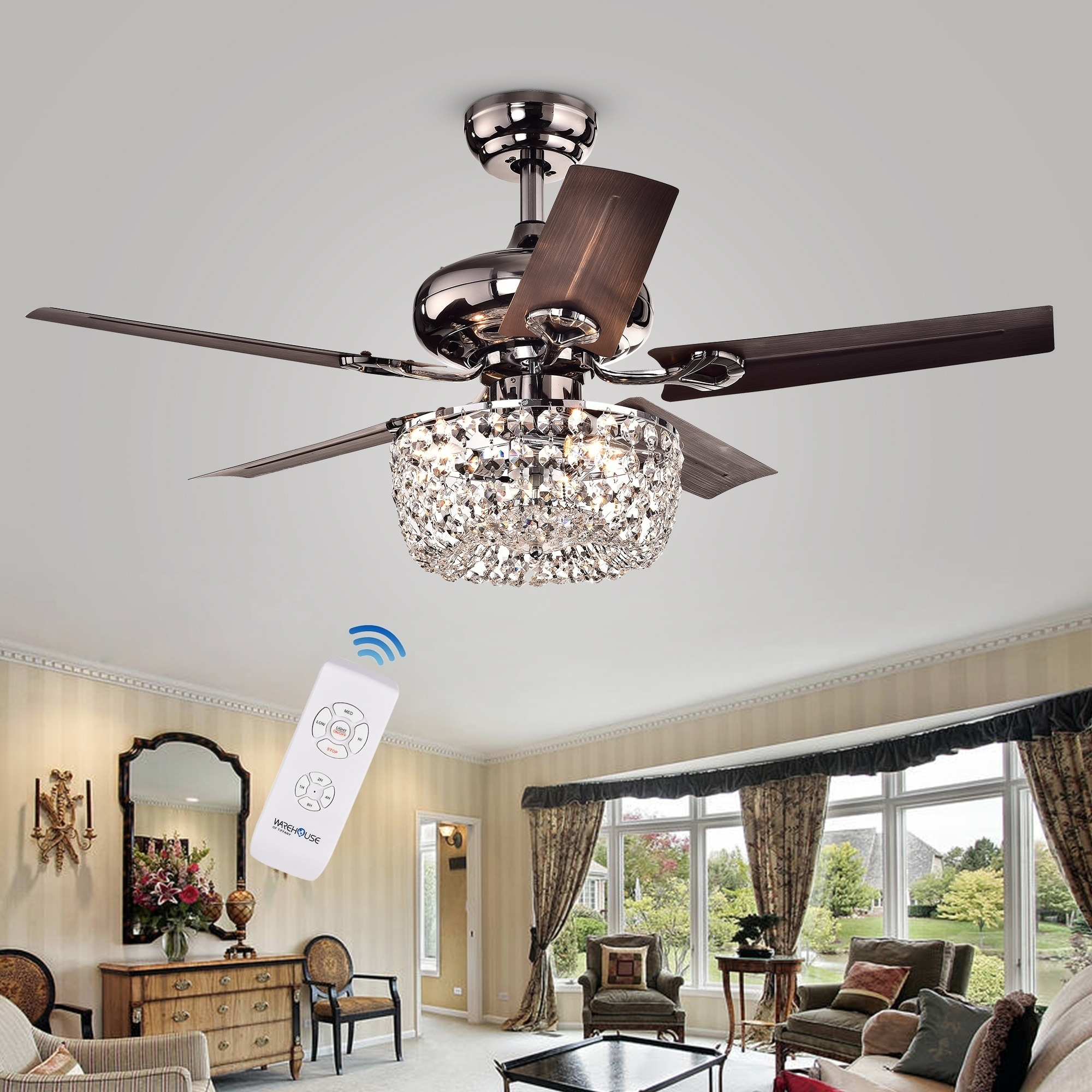 Angel 3 Light Crystal Chandelier 5 Blade 43 Inch Brown Ceiling Fan Optional Remote On Free Shipping Today 11045526