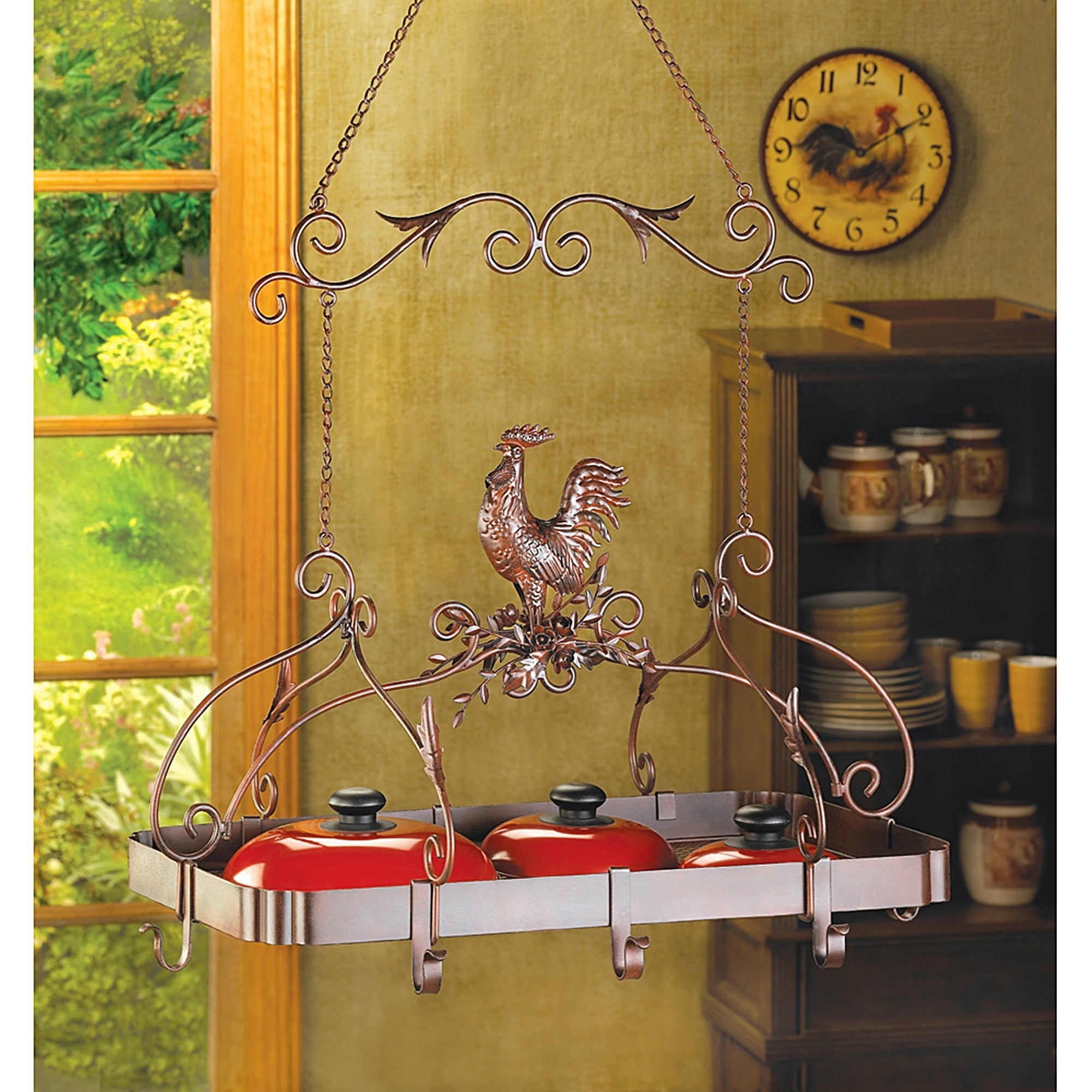 Rooster Overhead Hanging Pot Rack - Free Shipping Today - Overstock ...